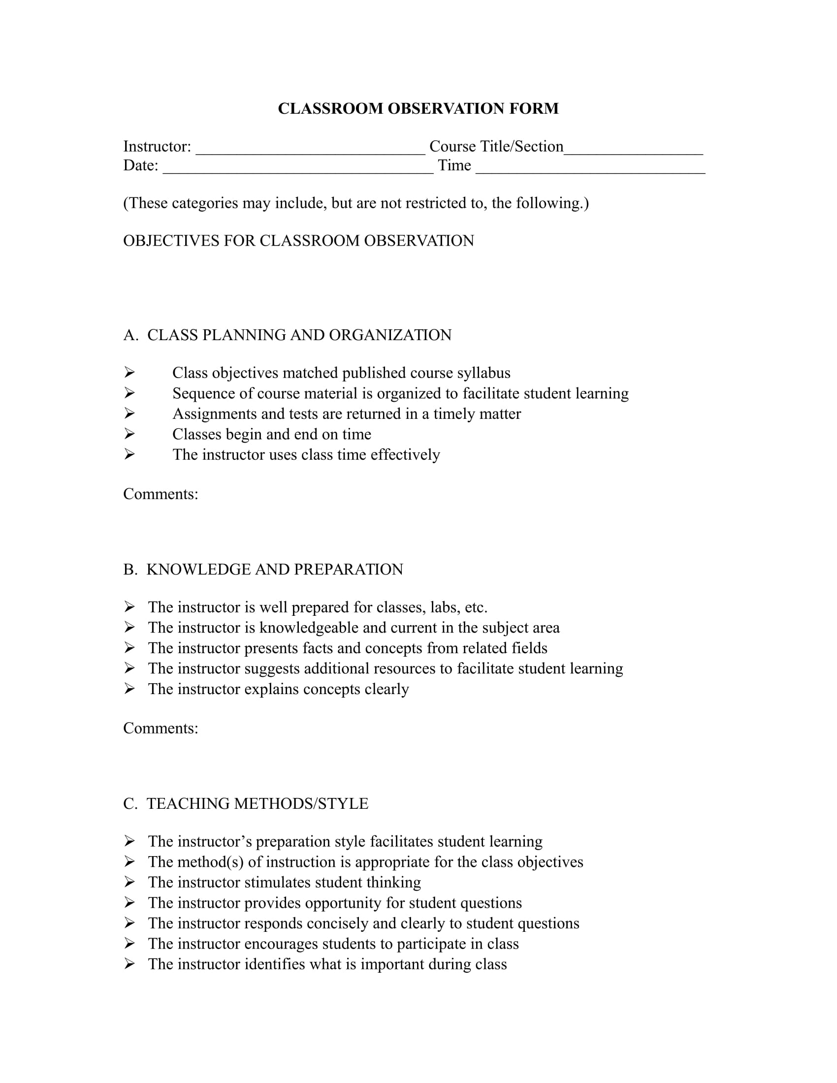 classroom observation form in doc 1