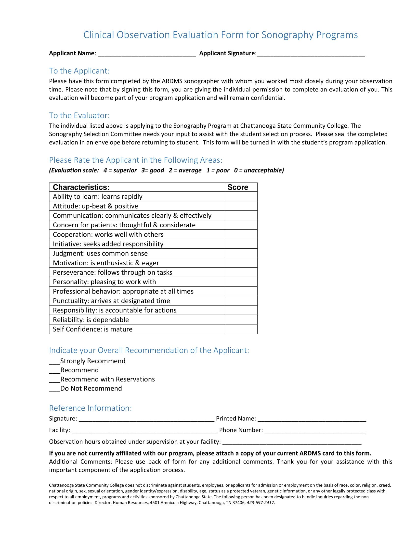 clinical observation evaluation form 1