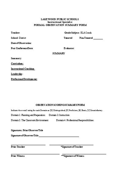 coach observation summary form