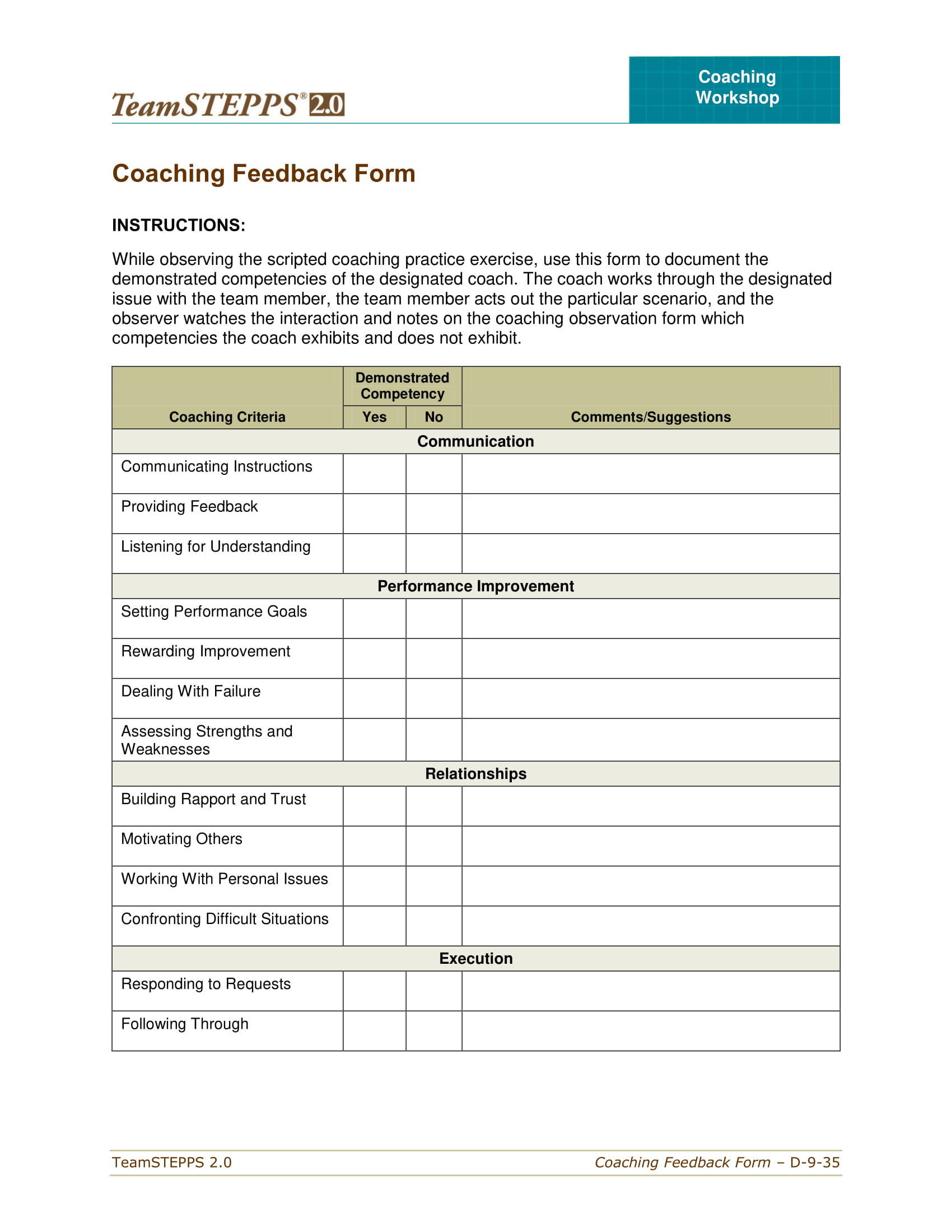 coaching feedback observation form 1