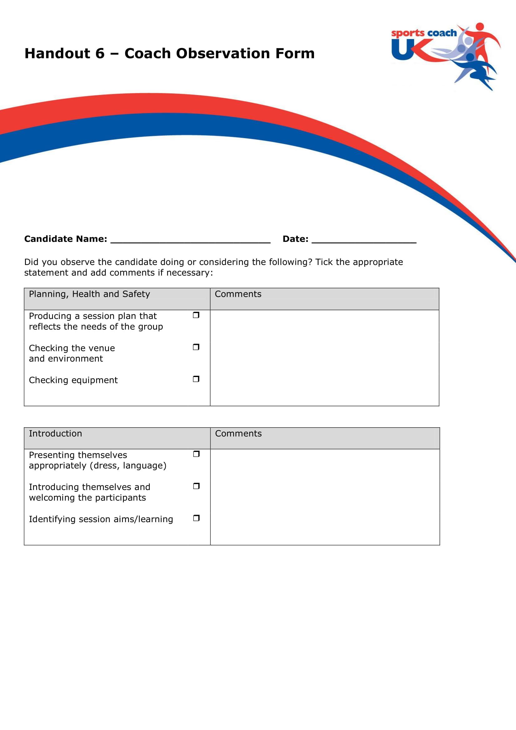 coaching observation form sample 1