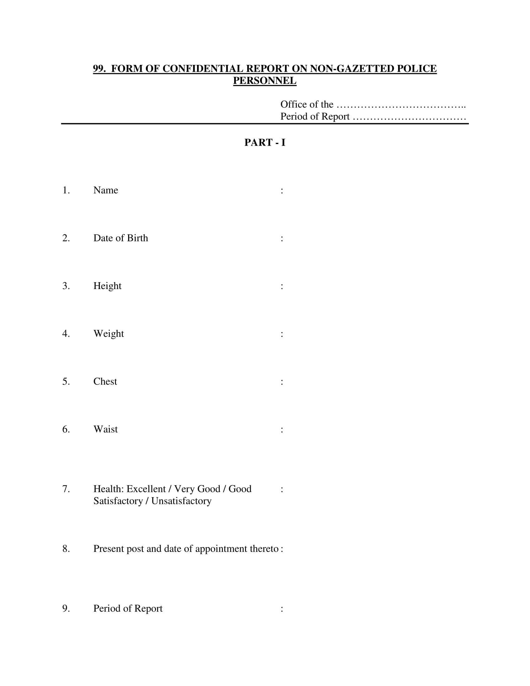 confidential report form for personnel 1