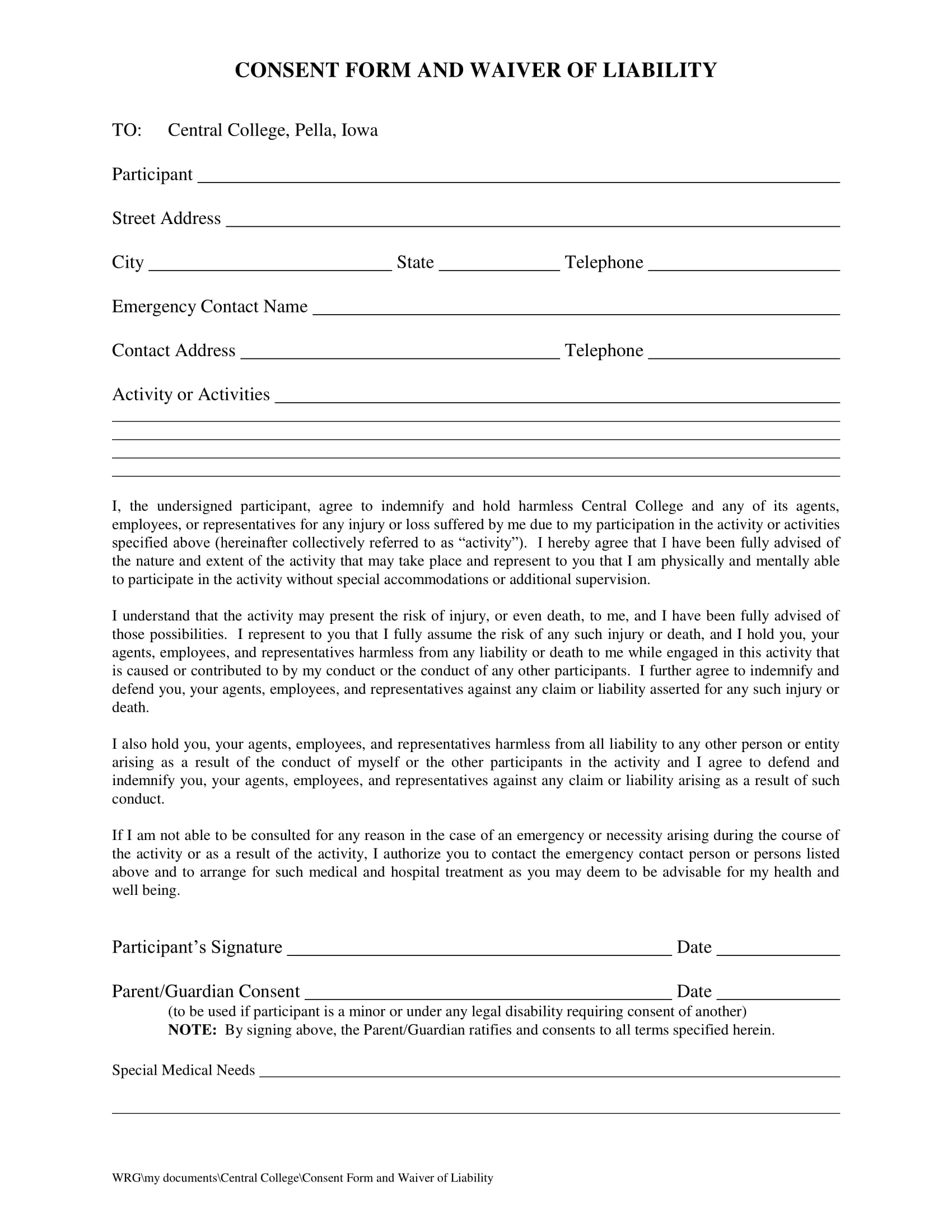 consent form and waiver of liability 1