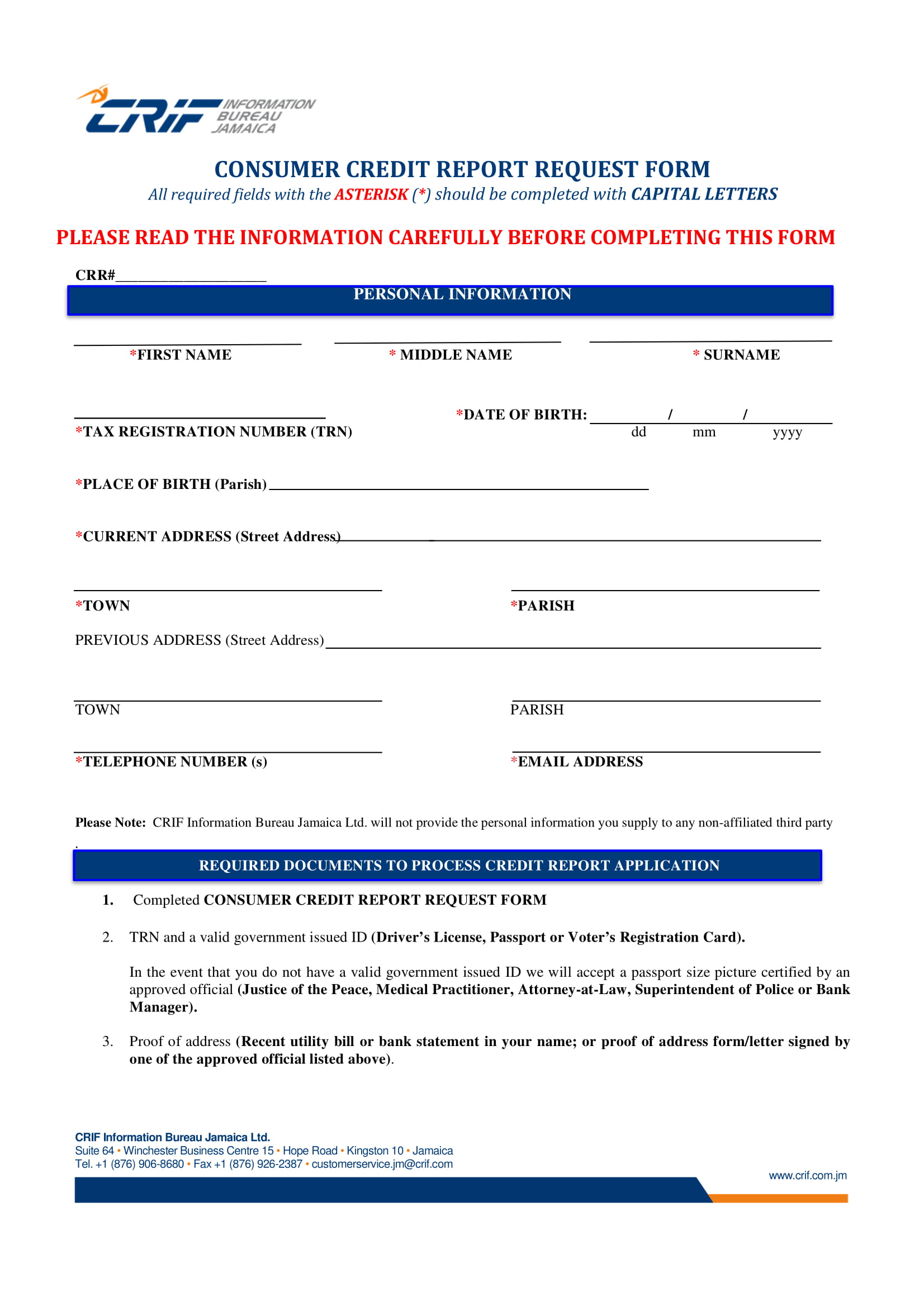 consumer credit report request form 1