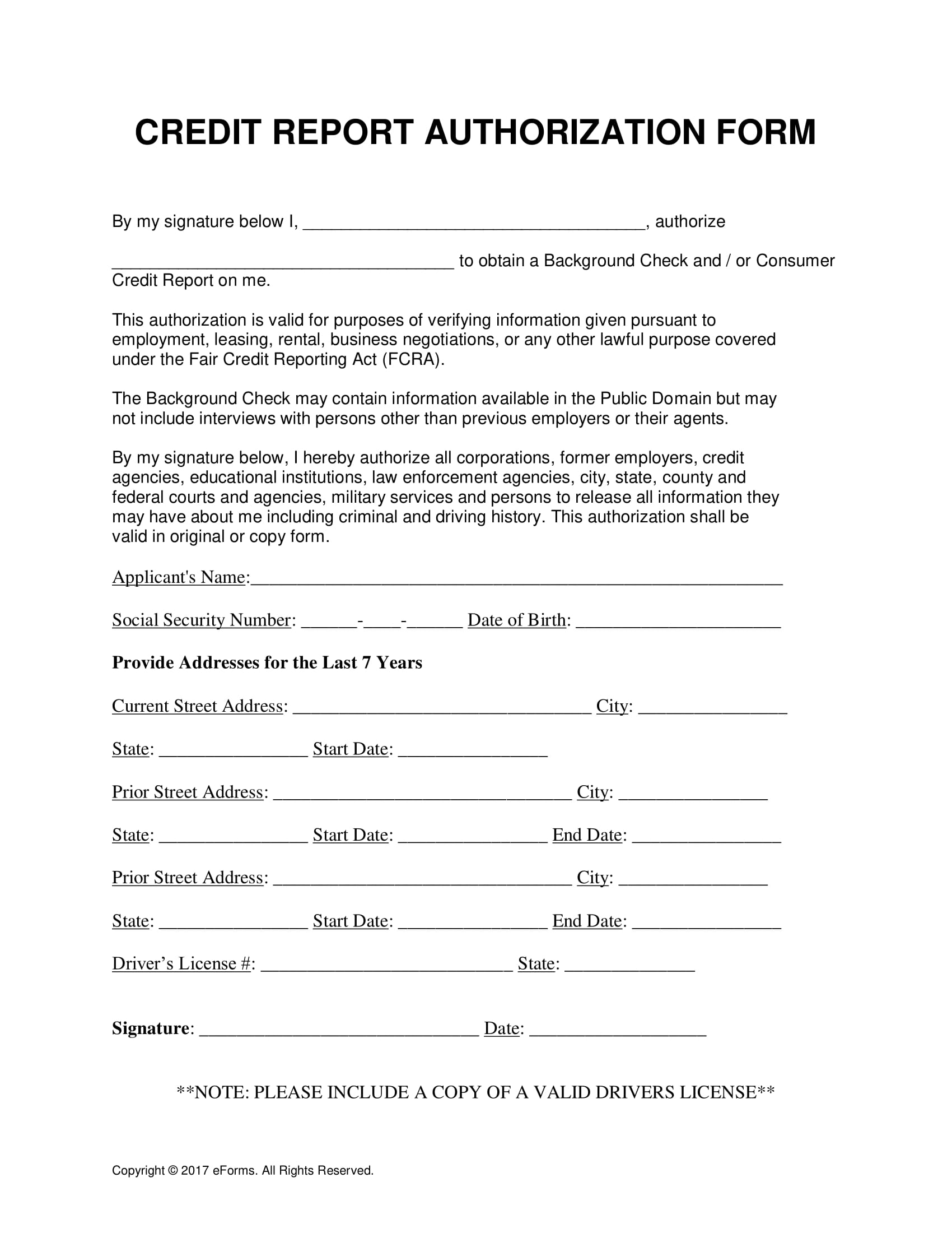 credit report authorization form 1