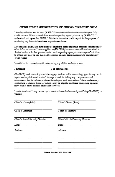 credit report authorization form