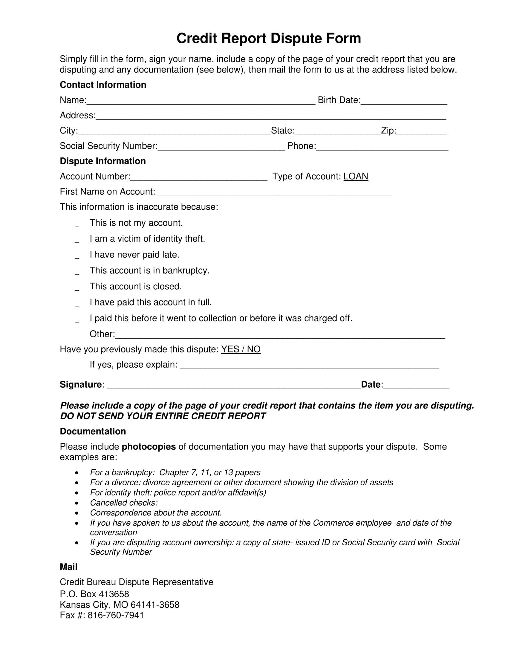 credit report dispute sample form 1