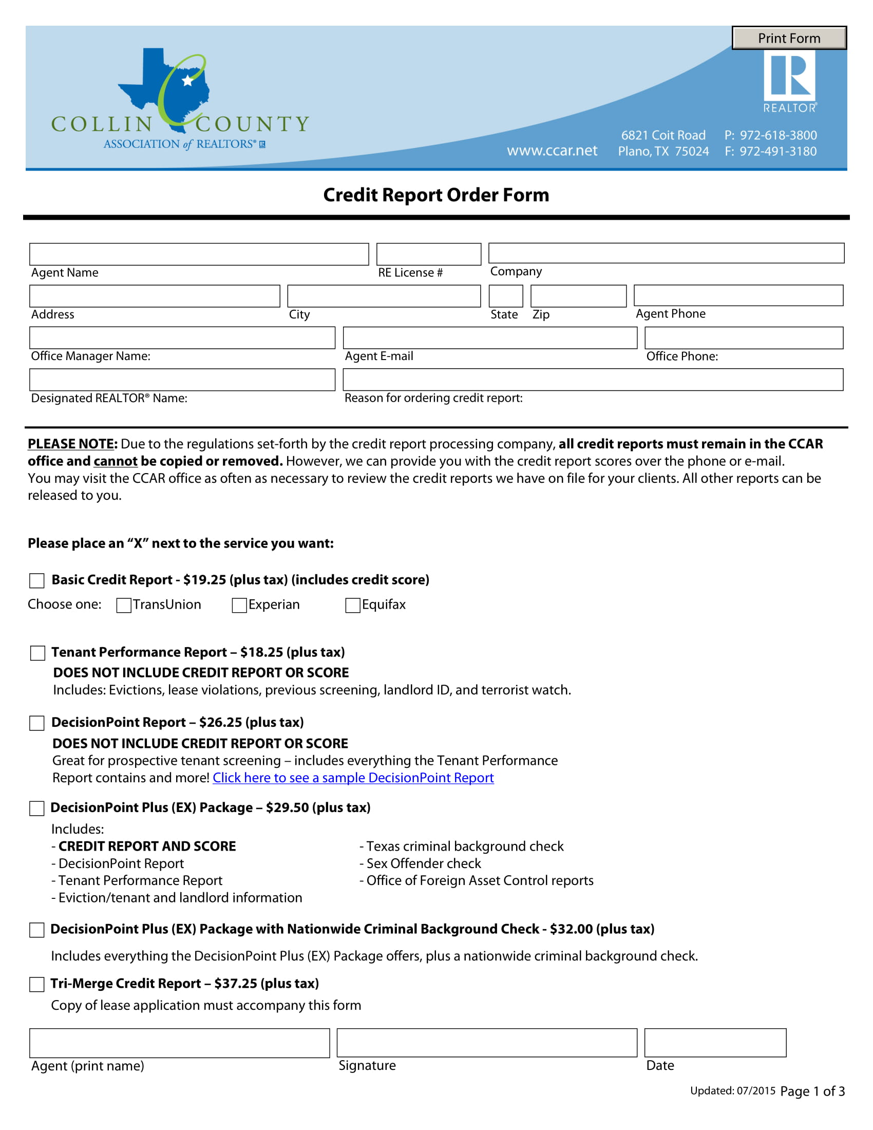 credit report order form 1
