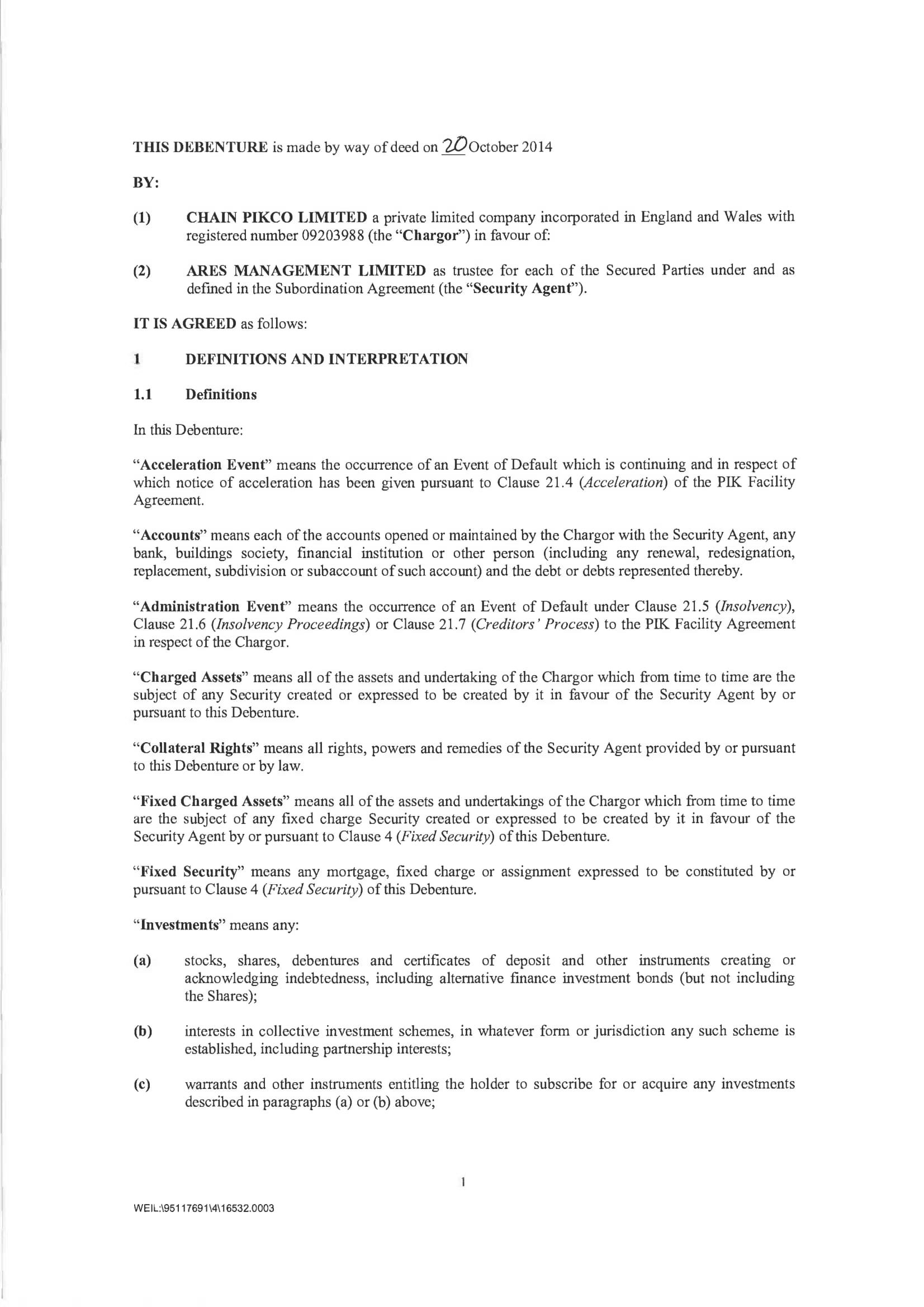 debenture agreement form sample 03