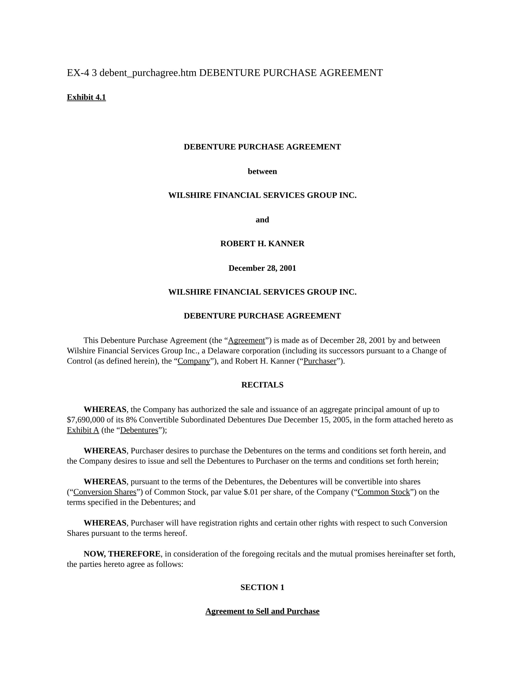 debenture purchase agreement form 01