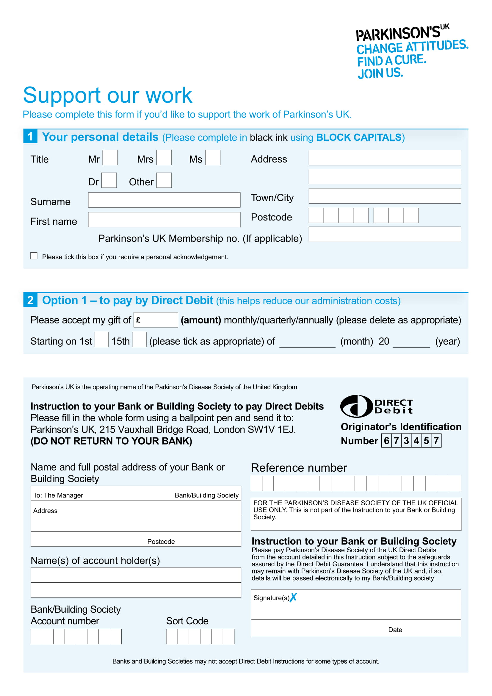 donation form sample 1