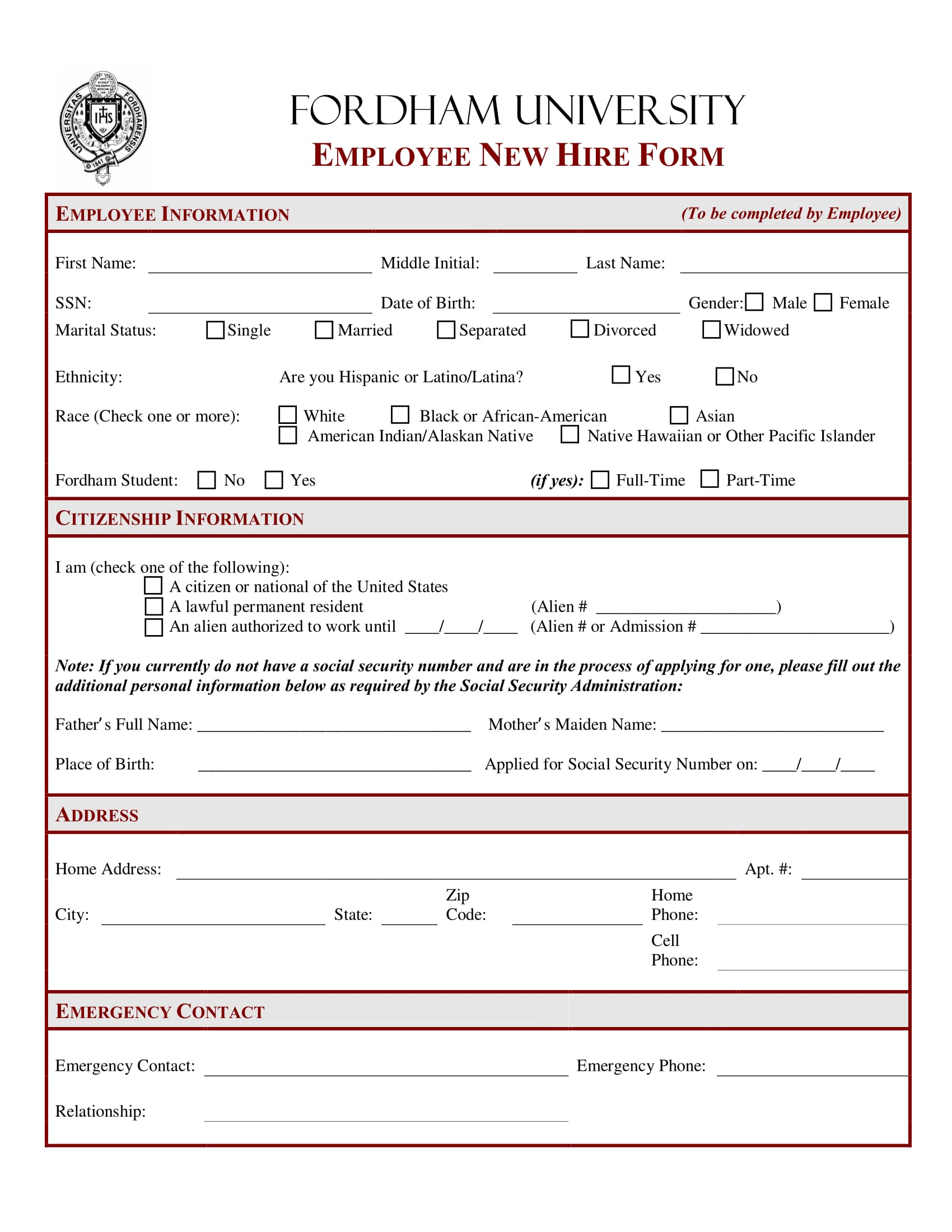 employee new hire form 1