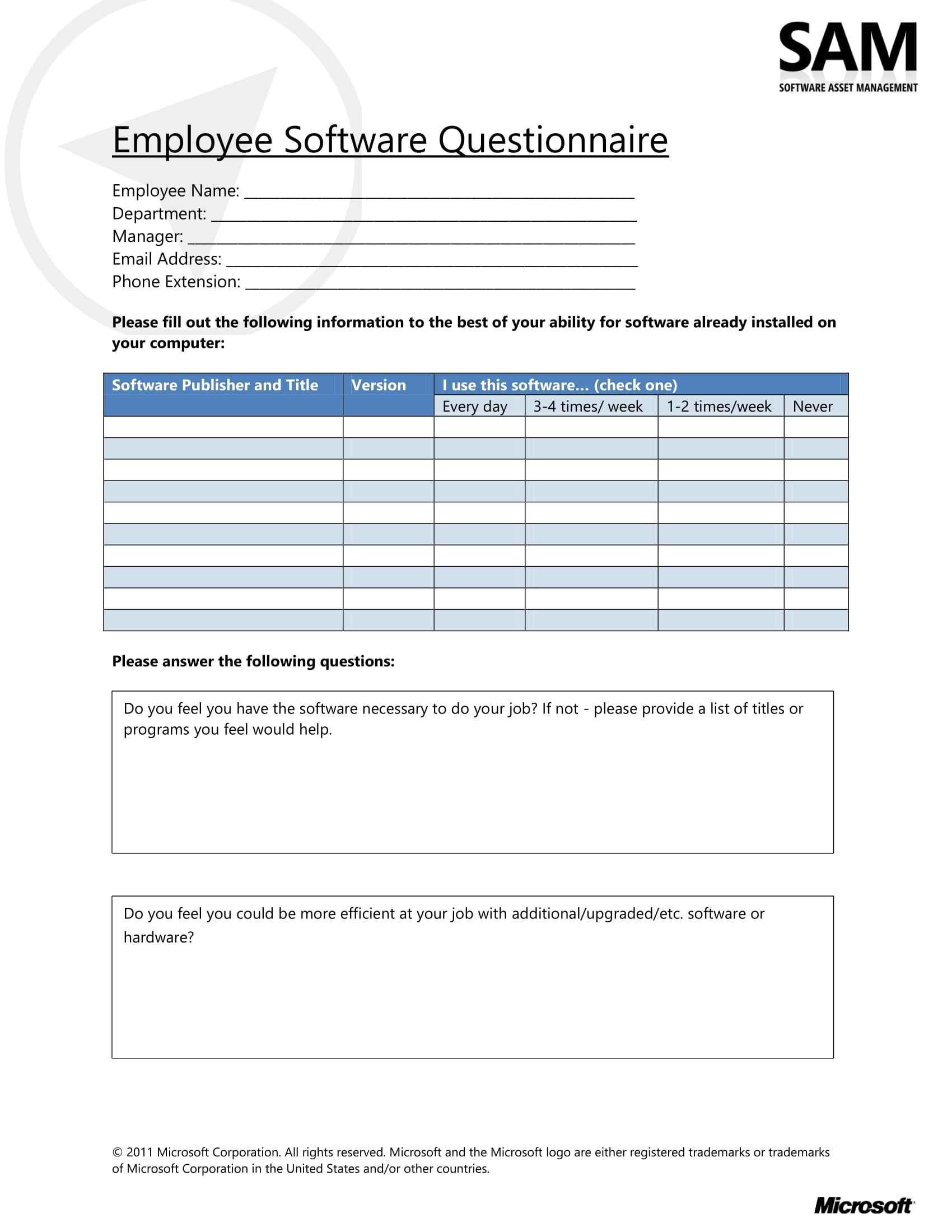 employee software questionnaire survey form 1