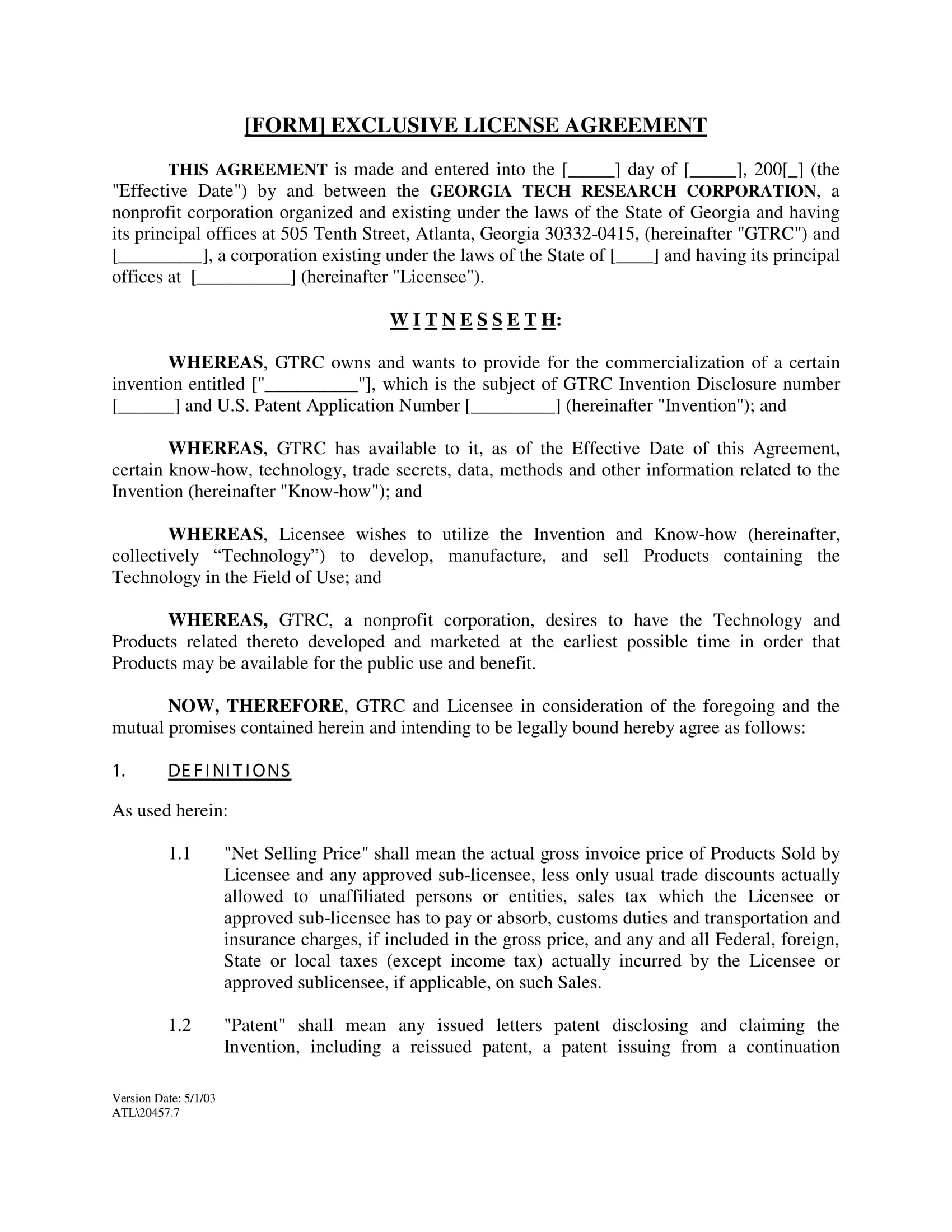 exclusive license agreement long form 01