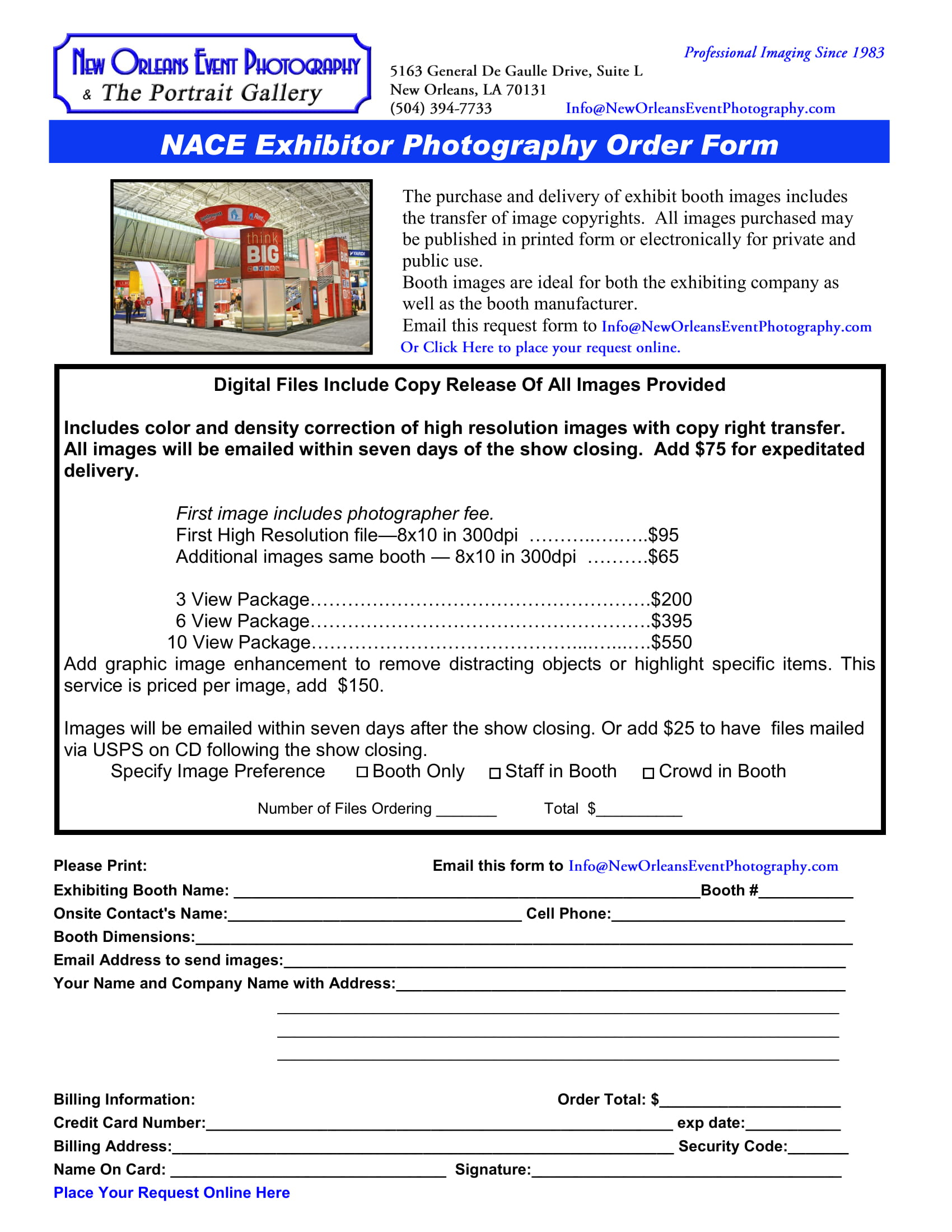 exhibitor photography order form 1