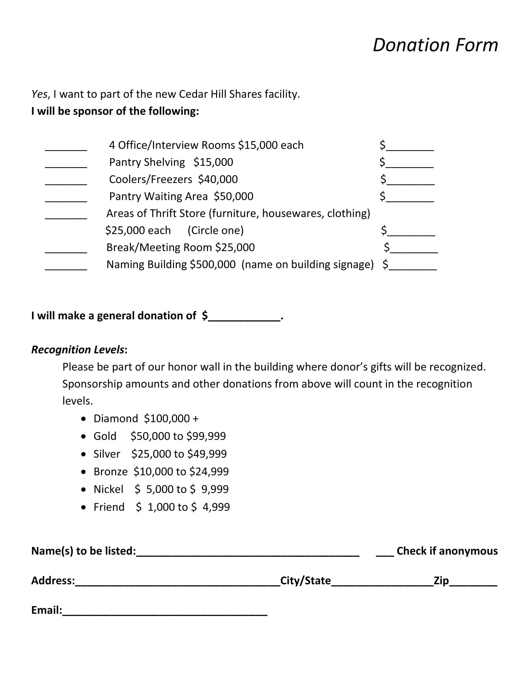 facility donation form 1