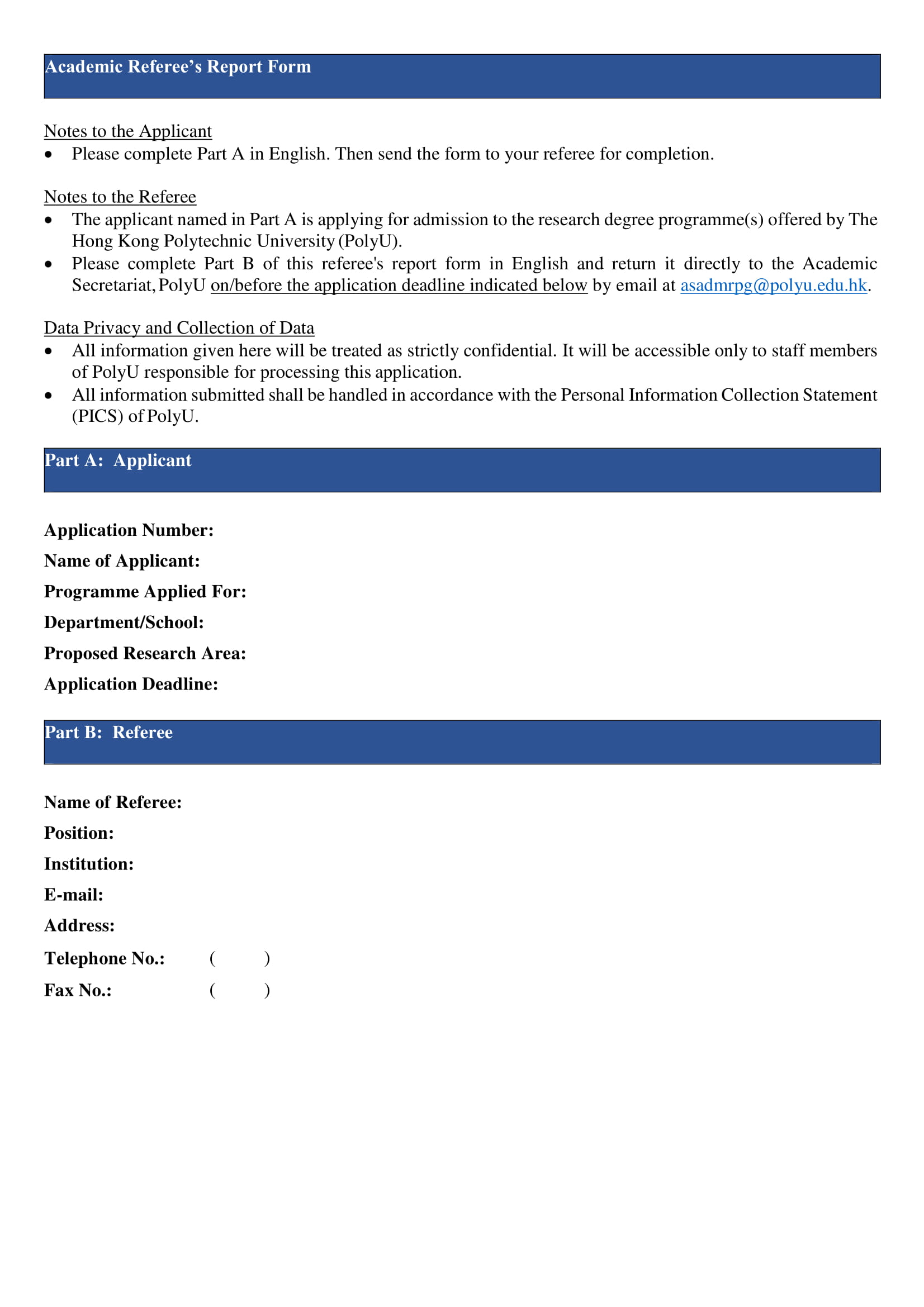 fillable academic referee's report form 1