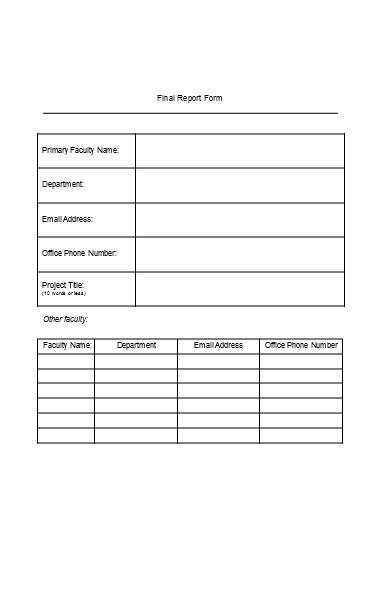 final budget report form