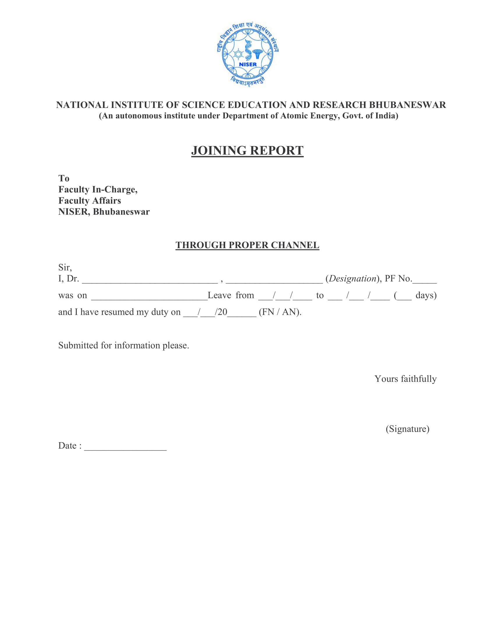 form sample for joining report 1