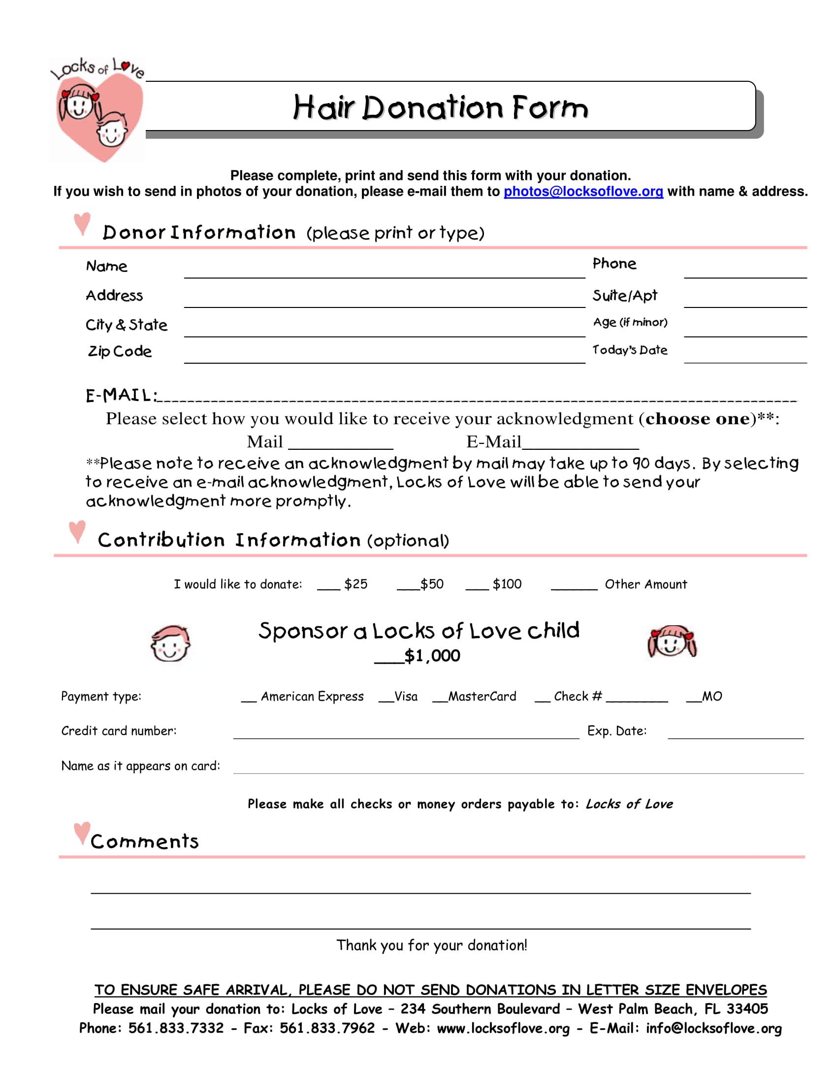 hair donation form 1