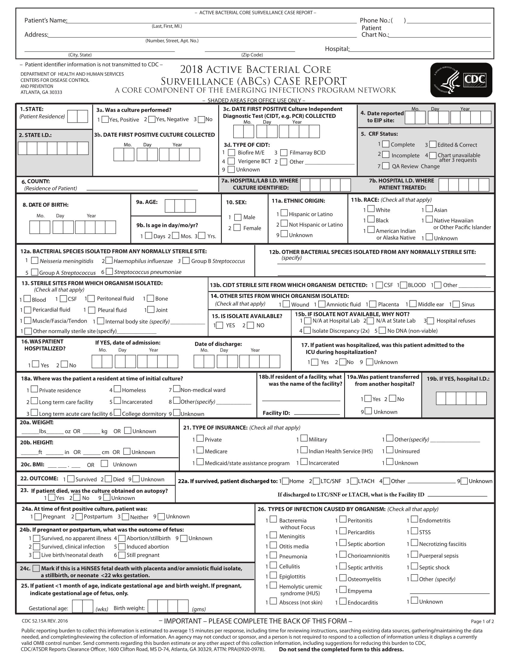 infection case report form template 1