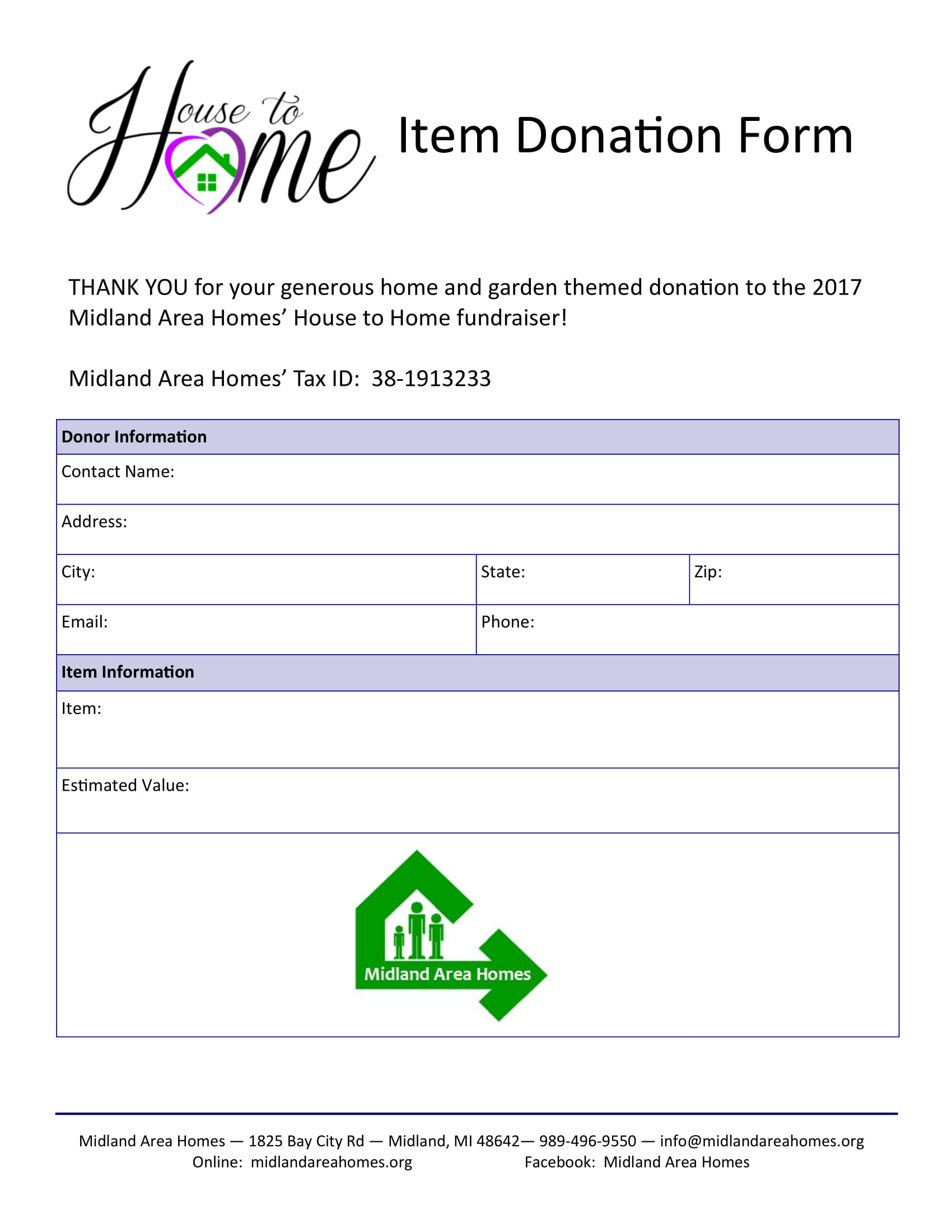 item donation form sample 1