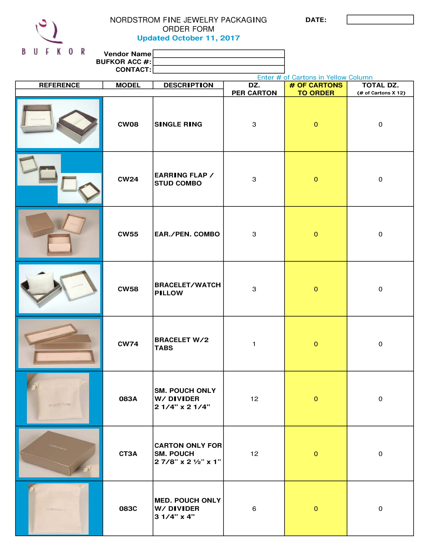 jewelry packaging order form 1