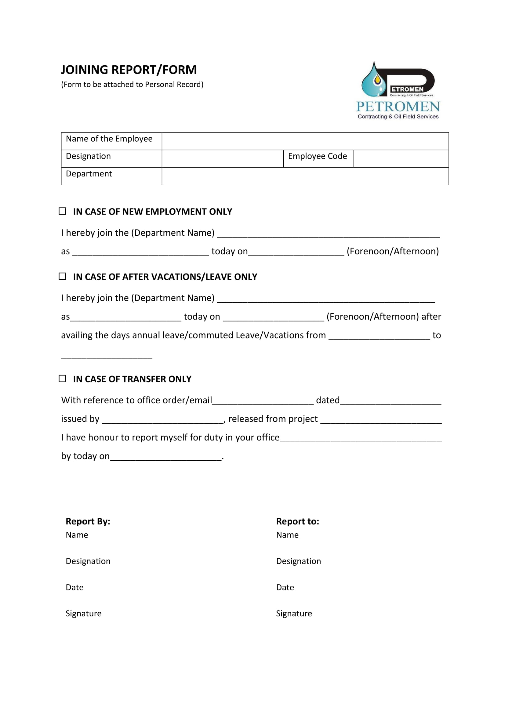 14 Joining Report Forms Pdf Doc