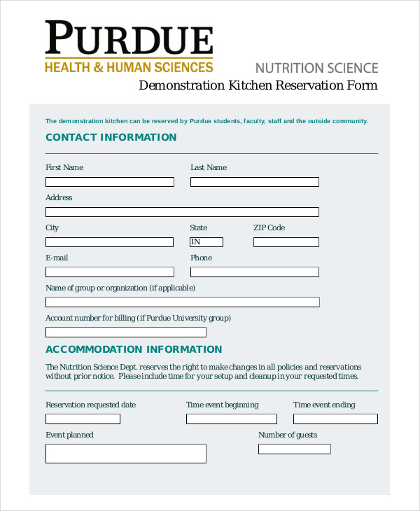 kitchen management reservation form