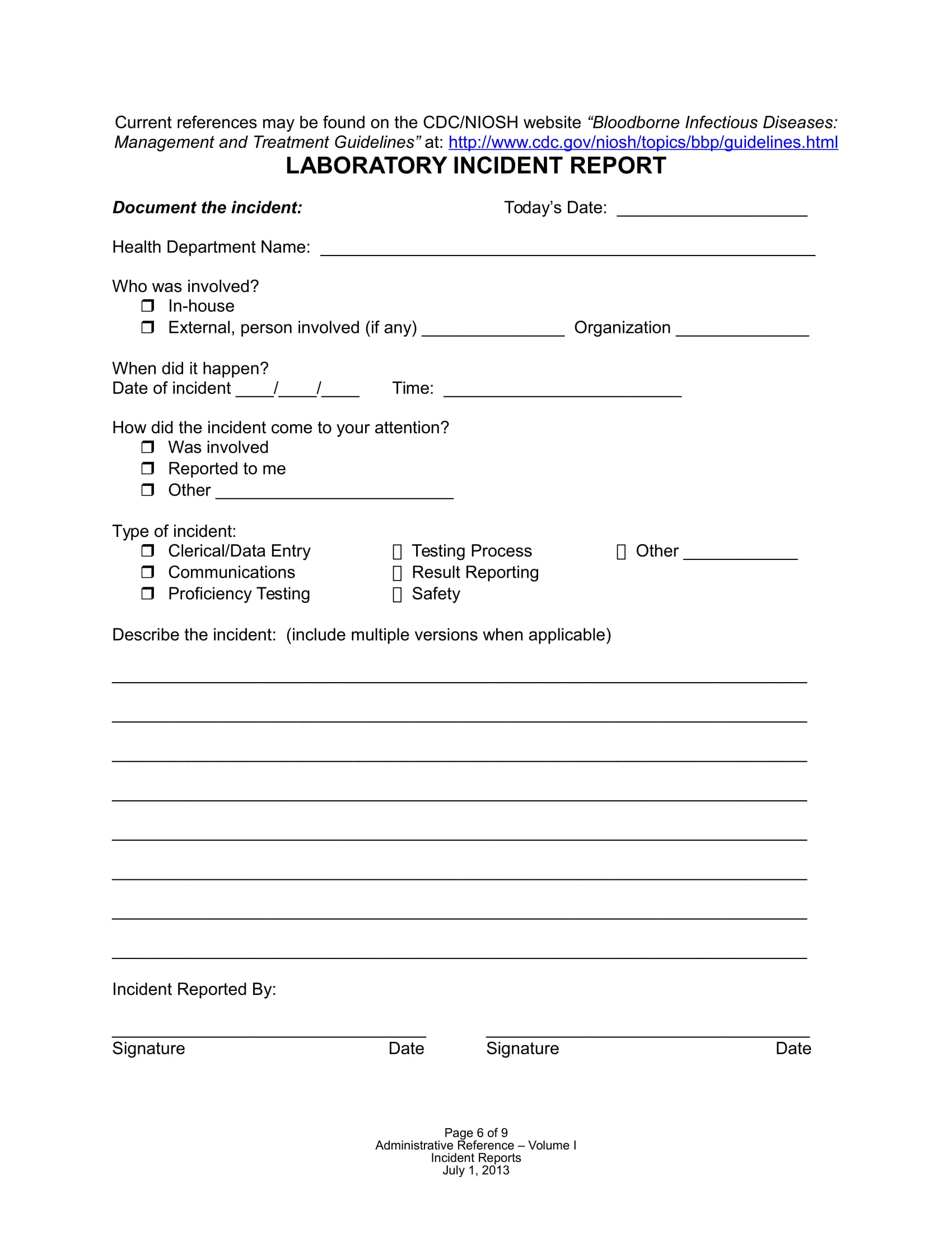 laboratory incident report form sample 07