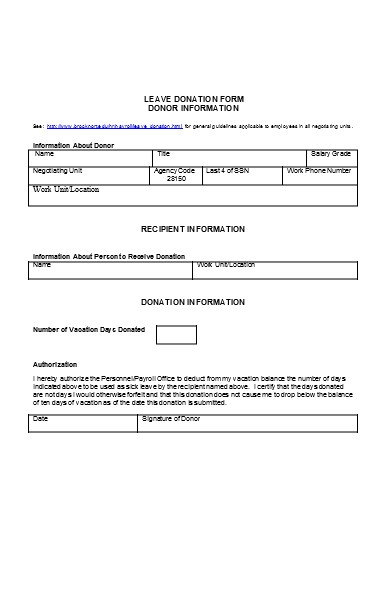 leave donation form
