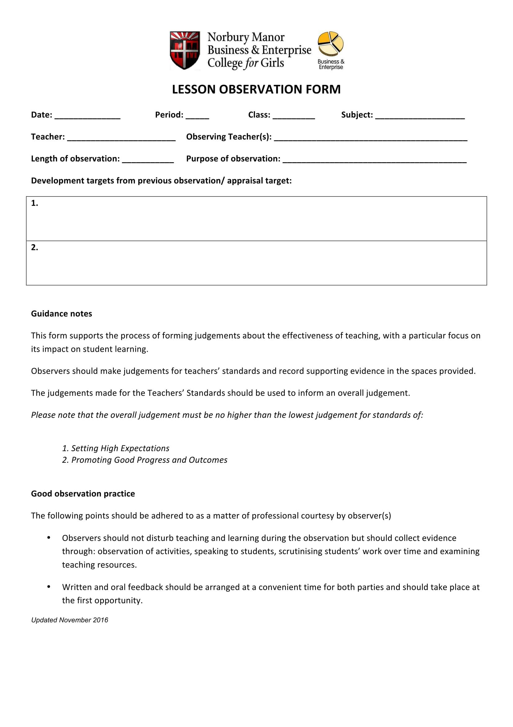 lesson observation form sample 1
