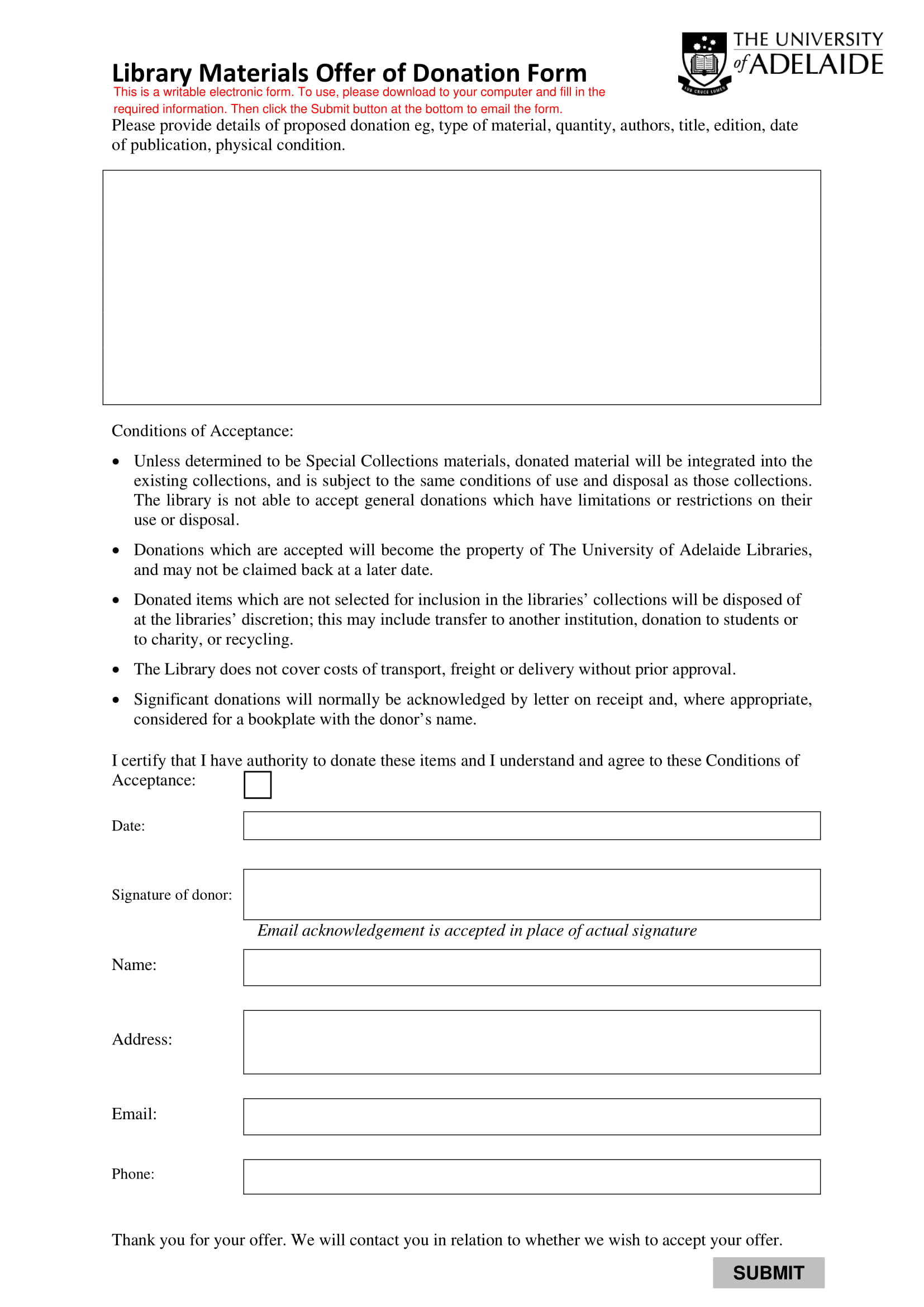 library materials donation form 1
