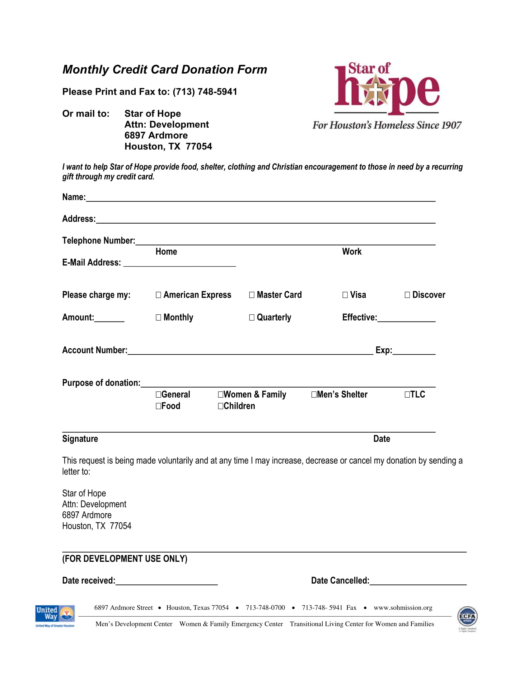 monthly credit card donation form 1