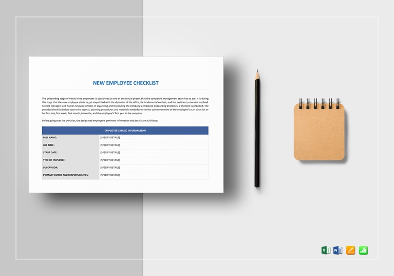 new employee checklist form template