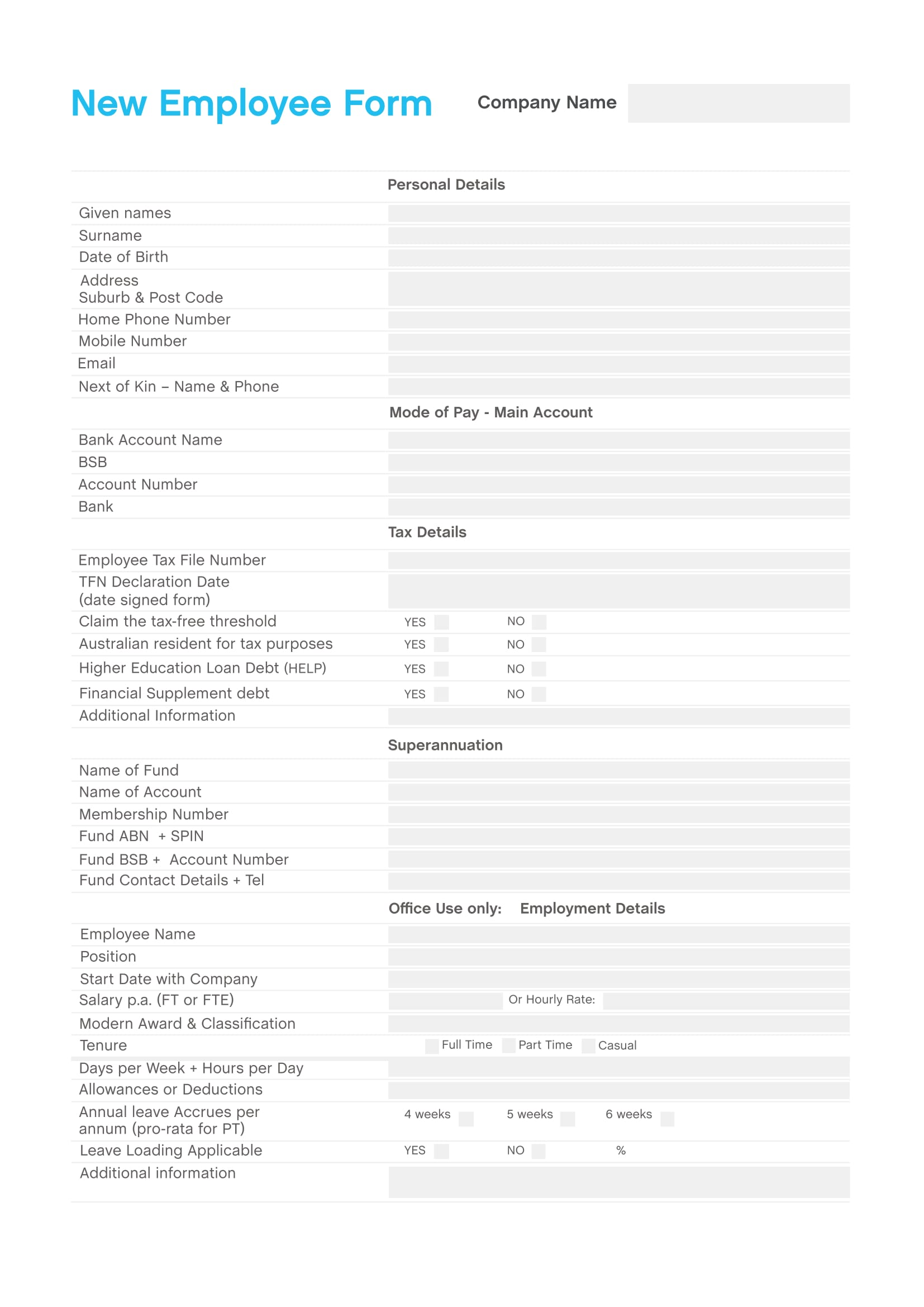 new employee form sample 1