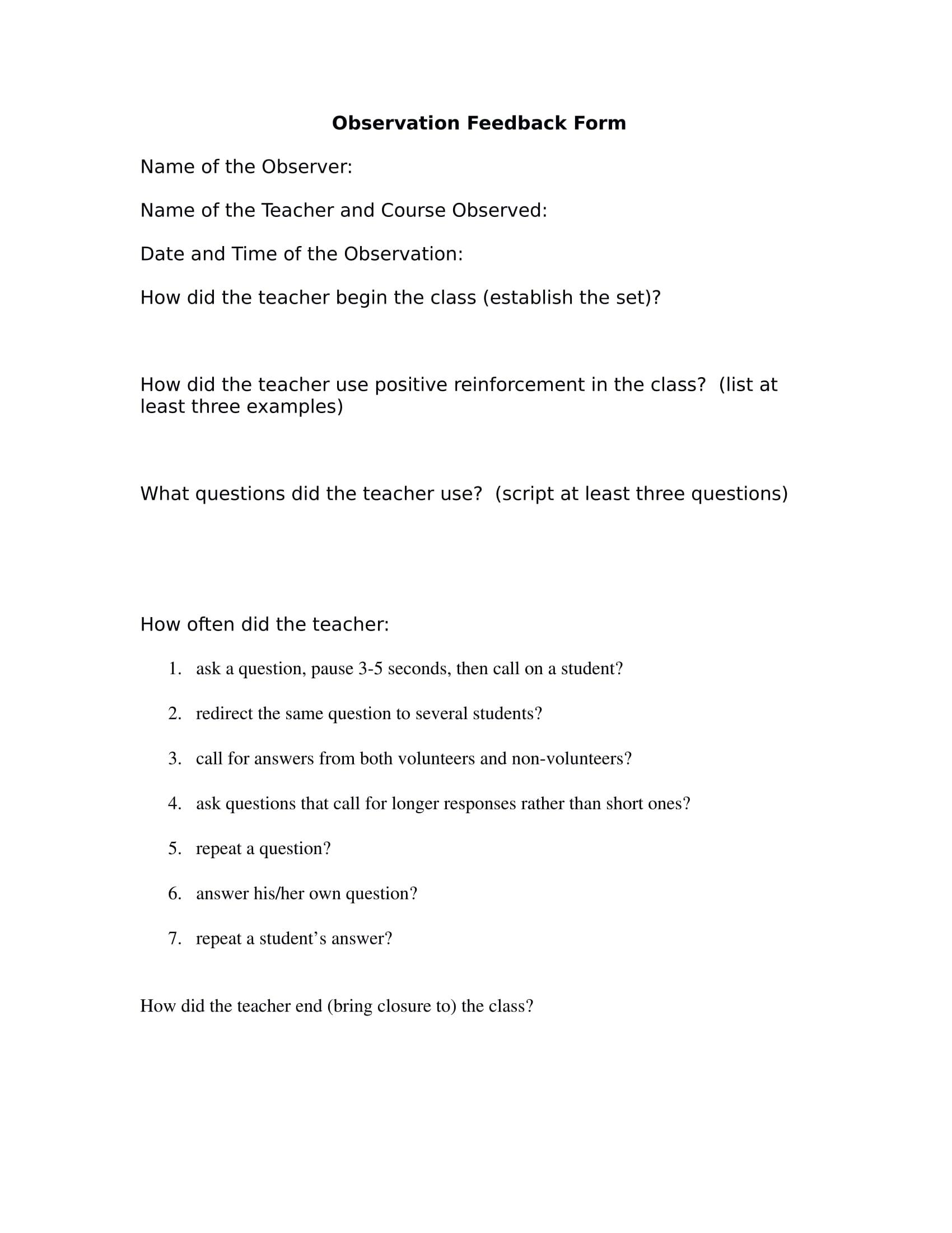 observation feedback form in doc 1