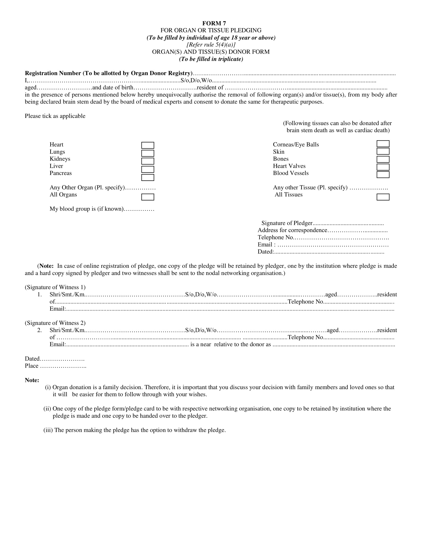 organ tissue pledging donation form 1