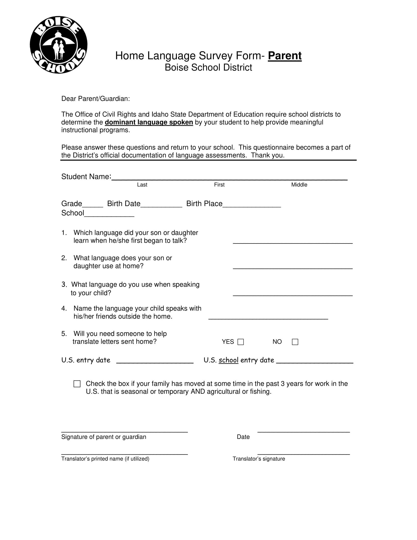 parent home language survey form 1