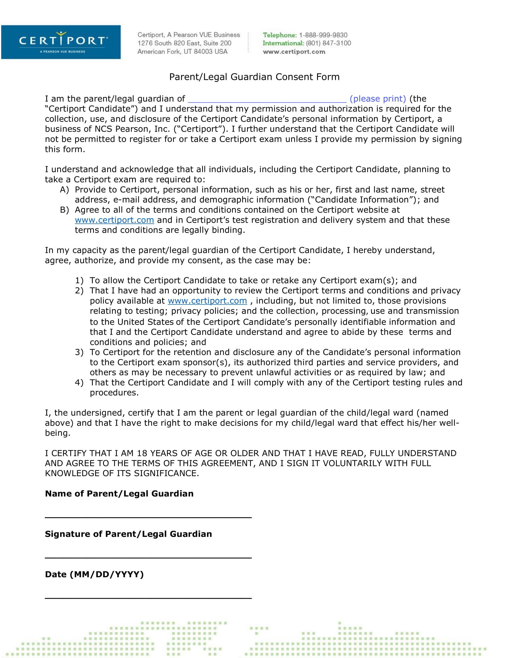 parent or legal guardian consent form 1