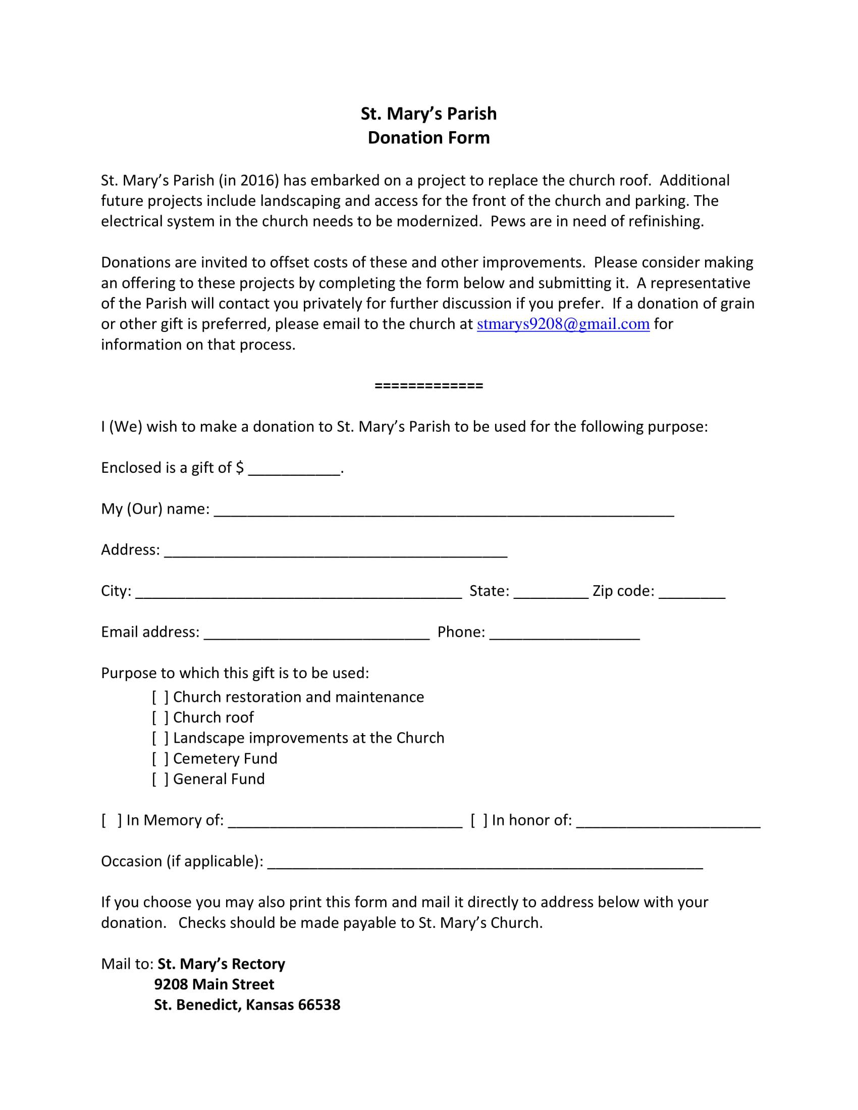 parish donation form 1