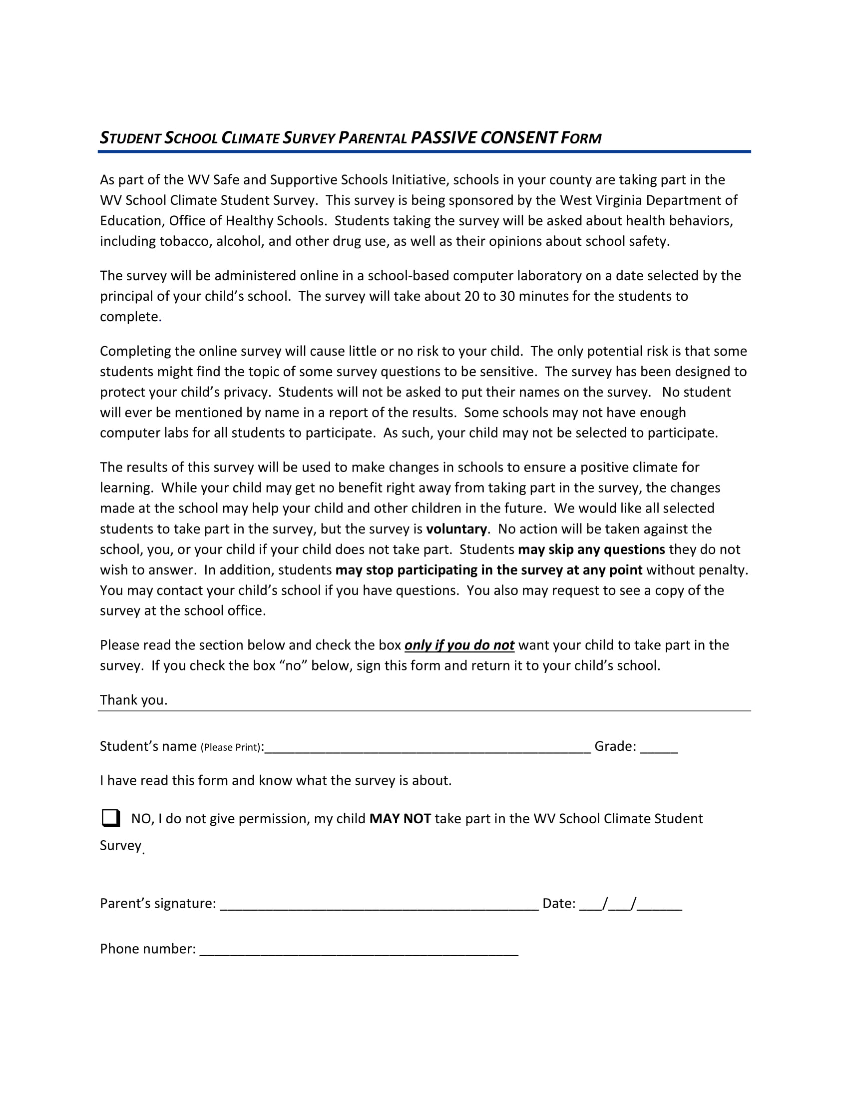 passive consent form sample 1
