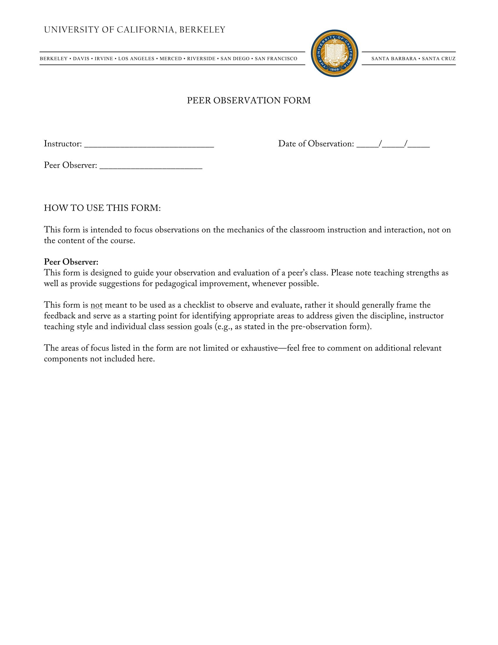 peer observation form sample 1
