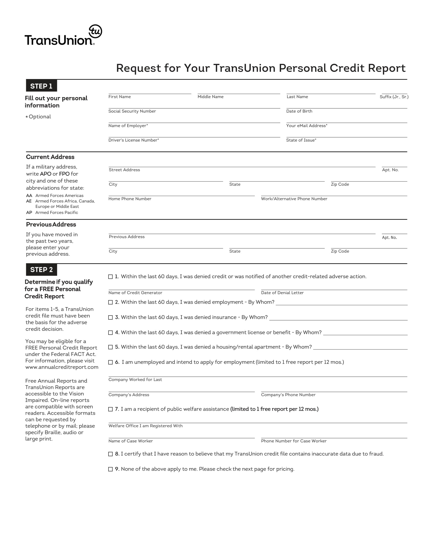personal credit report request form 1