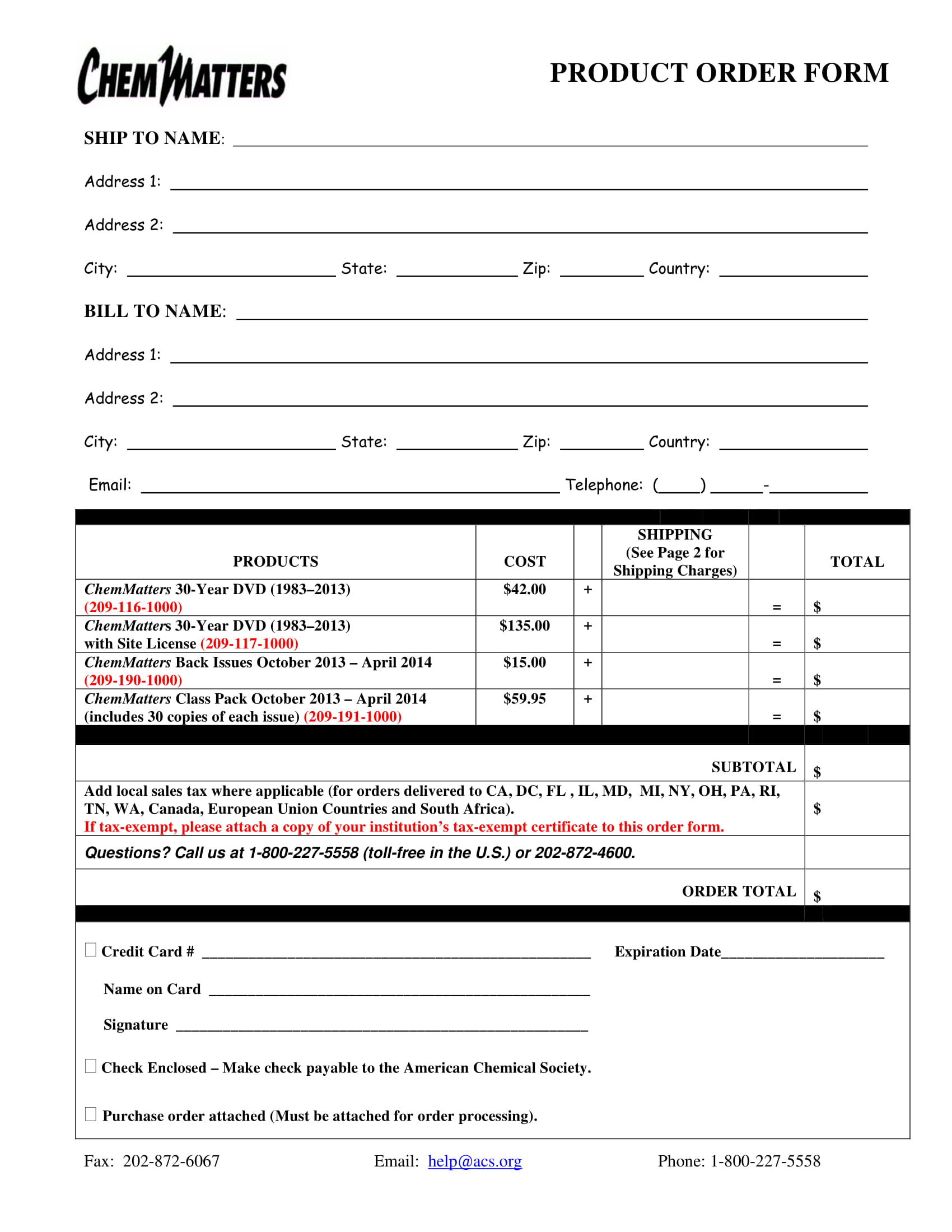 product order form sample 1