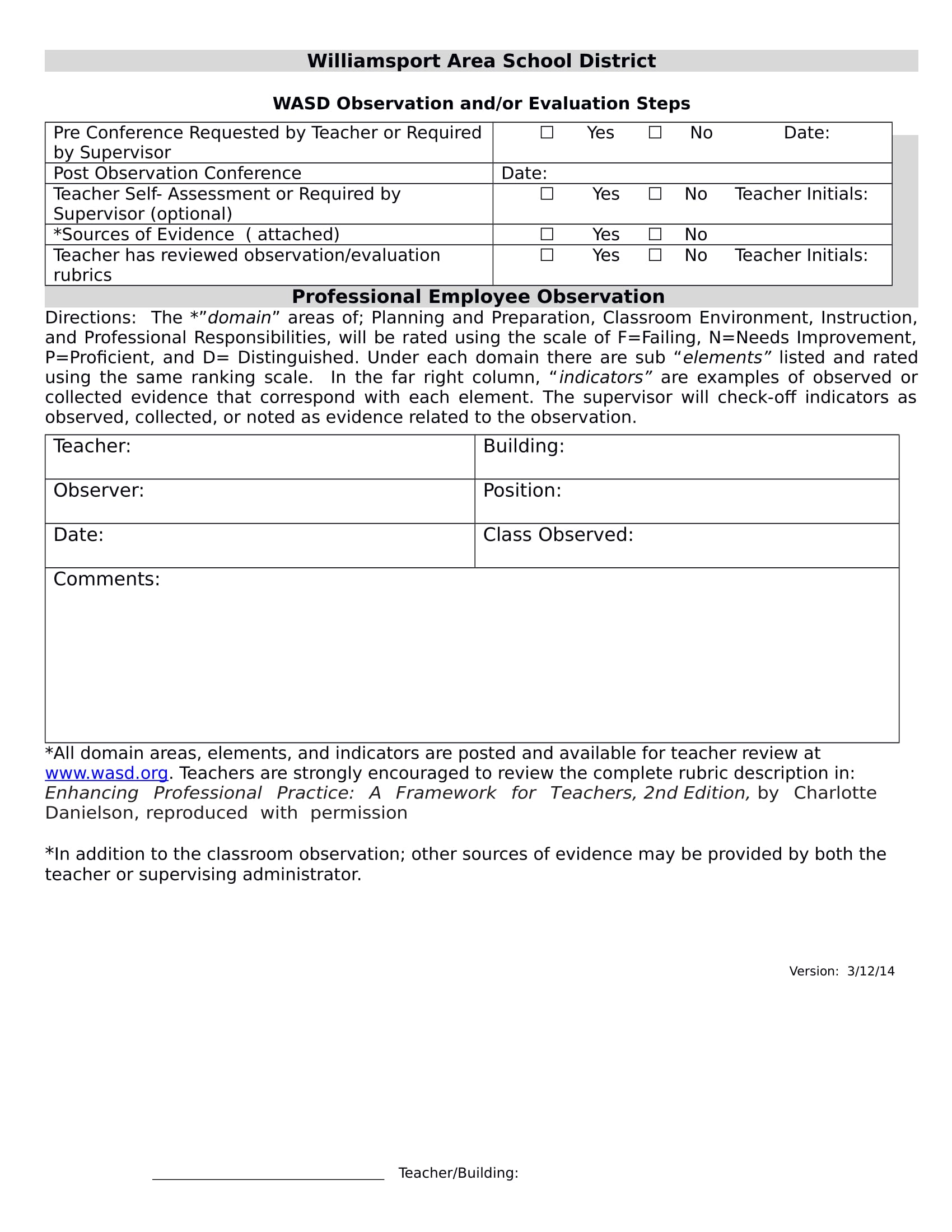 professional employee observation form in doc 1