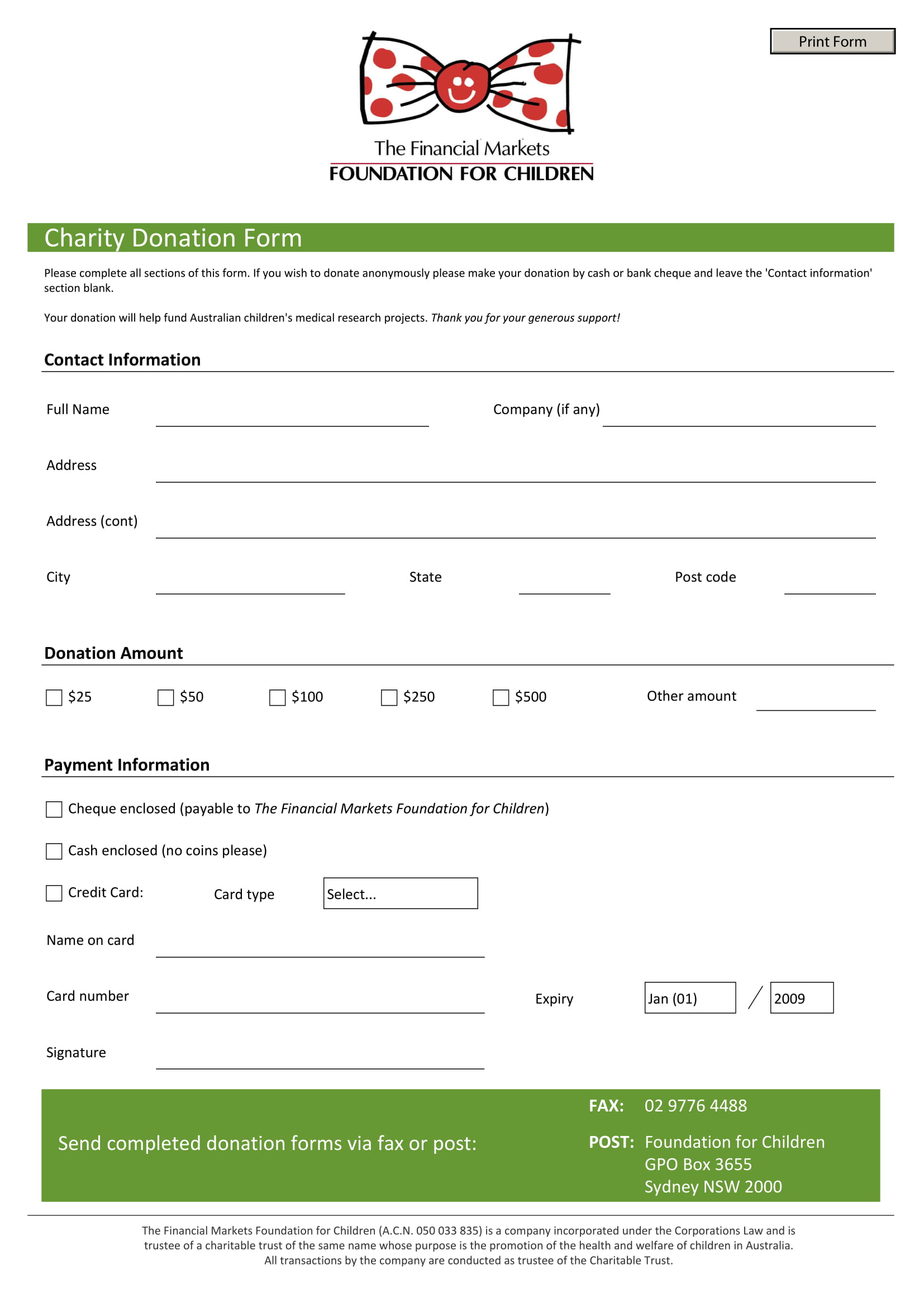 quick automated donation form 1