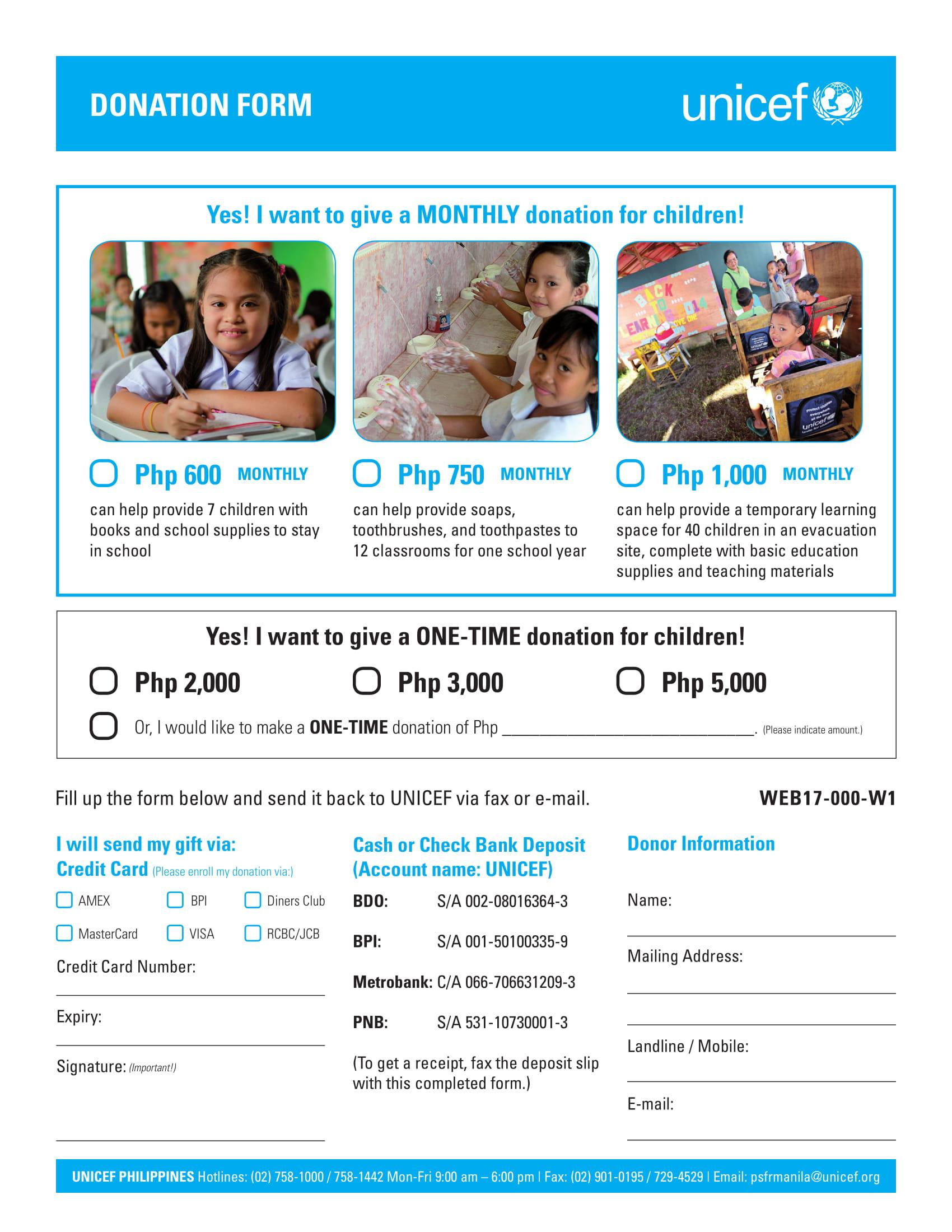 quick children donation form 1