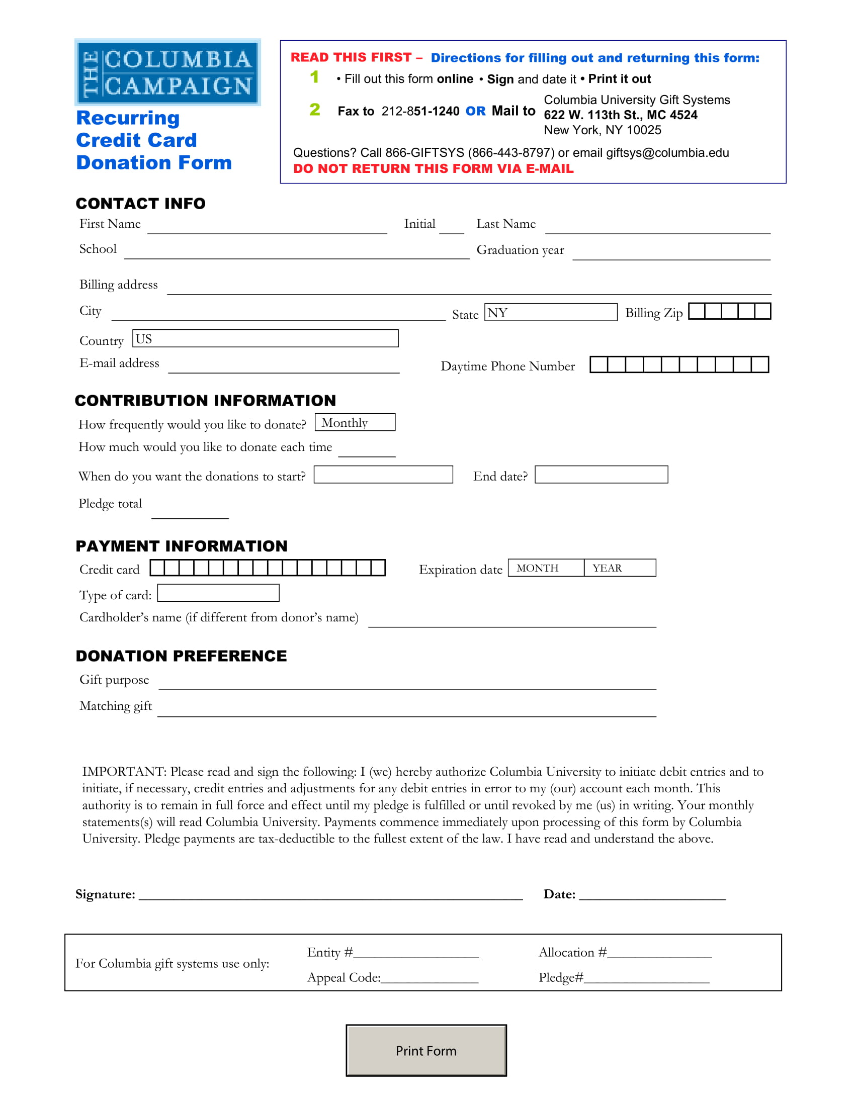 recurring credit card donation form 1