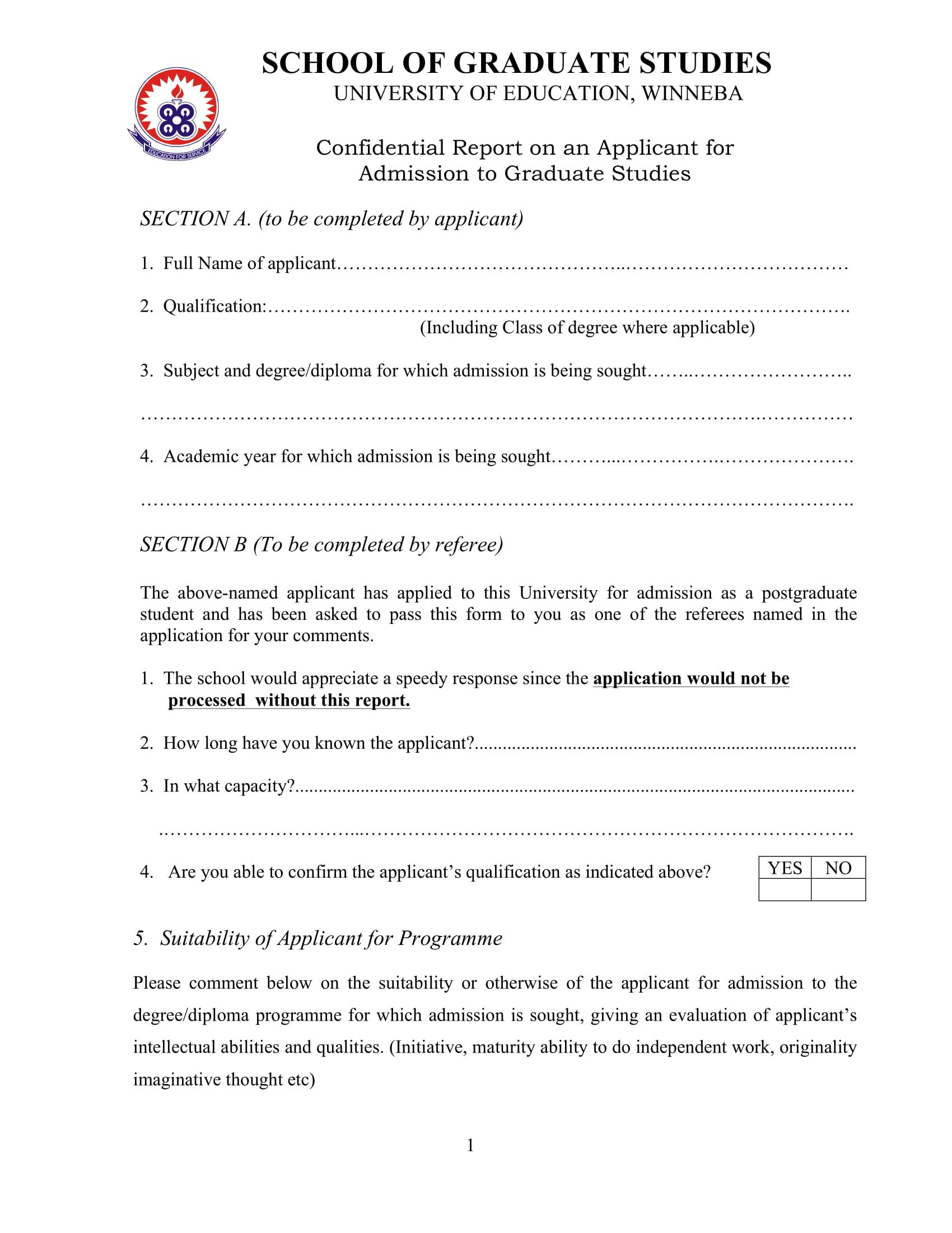 referee report for graduate applicants 1